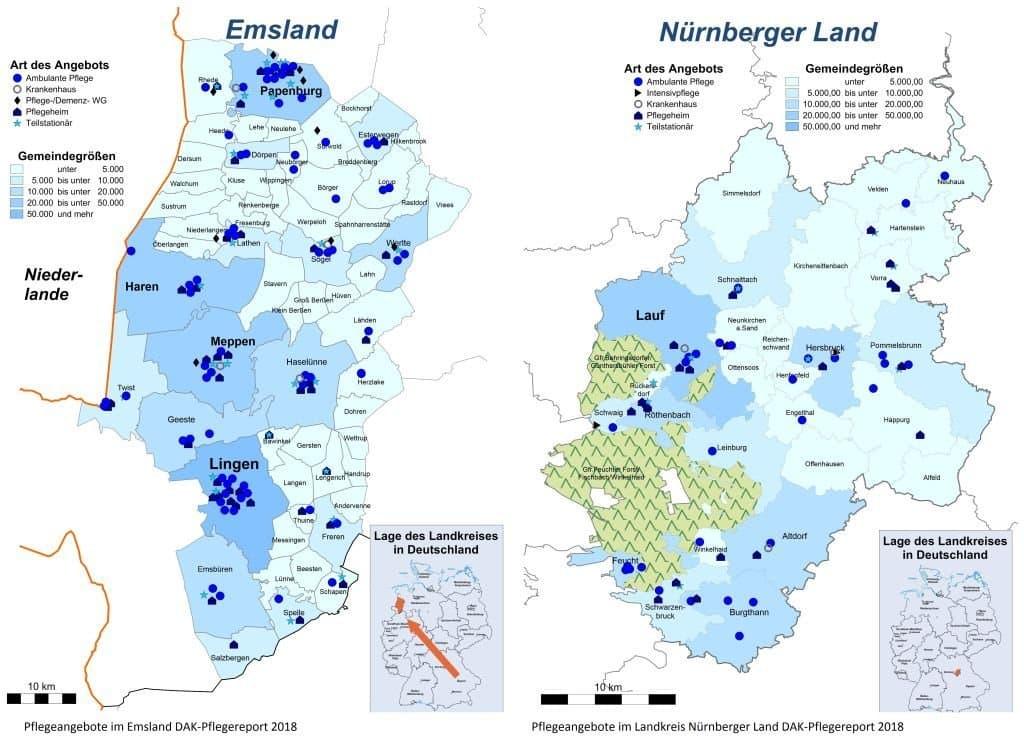 Der DAK Pflegereport 2018zeigt am Beispiel des Nürnberger Landes und des Emslandes, dass Pflegeangebote wie Ambulante Pflege, Pflegeheime oder teilstationäre Pflege regional sehr unterschiedlich verfügbar sind. Auf den Karten ist die Verteilung zu sehen.