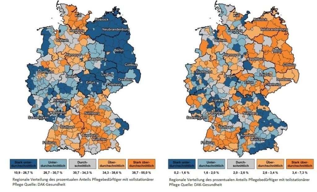 Auf zwei Karten ist zu sehen, dass Tagespflege und vollstationäre Pflege regional sehr unterschiedlich in Anspruch genommen werden. In Ostdeutschland werden Pflegebedürftige selten in einem Pflegeheim versorgt, in den meisten bayerischen Städten und Landkreisen hingegen überdurchschnittlich häufig.