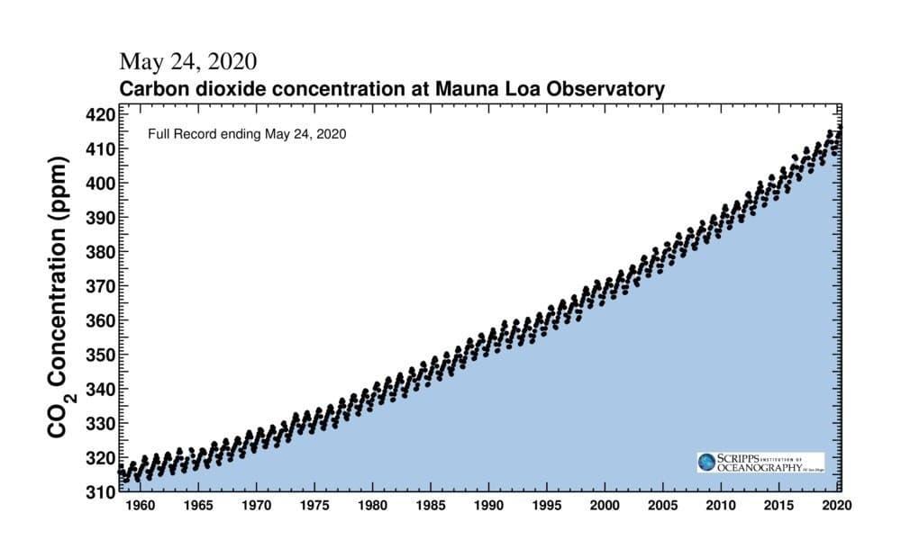 Die Grafik stellt eine deutliche Zunahme der Kohlendioxid-Konzentration in der Atmosphäre dar. Zu sehen ist auch die jahreszeitliche Schwankung, die durch ein Zickzack zum Ausdruck kommt.