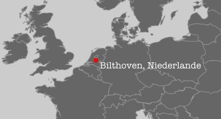 Ausschnitt aus der Karte Europas mit den Niederlanden im Zentrum, und der Ort Bilthoven in rot hervorgehoben.