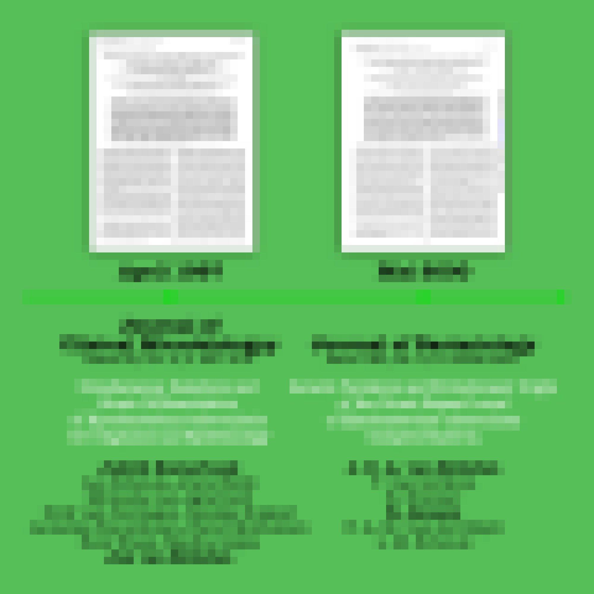 Zwei Fachartikel mit bibliographischen Angaben vor grünem Hintergrund.