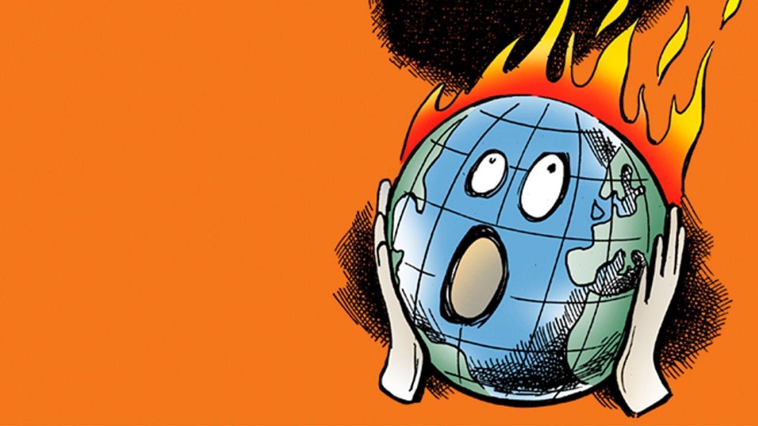 """Eine Karikatur auf organefarbigem Hintergrund: Die Welt brennt und hält sich die Hände entsetzt an die Wangen wie die Figur auf Munchs """"Schrei"""" – Cover-Illustration des jetzt auf deutsch erschienenen Buchs """"Der Tollhauseffekt"""""""