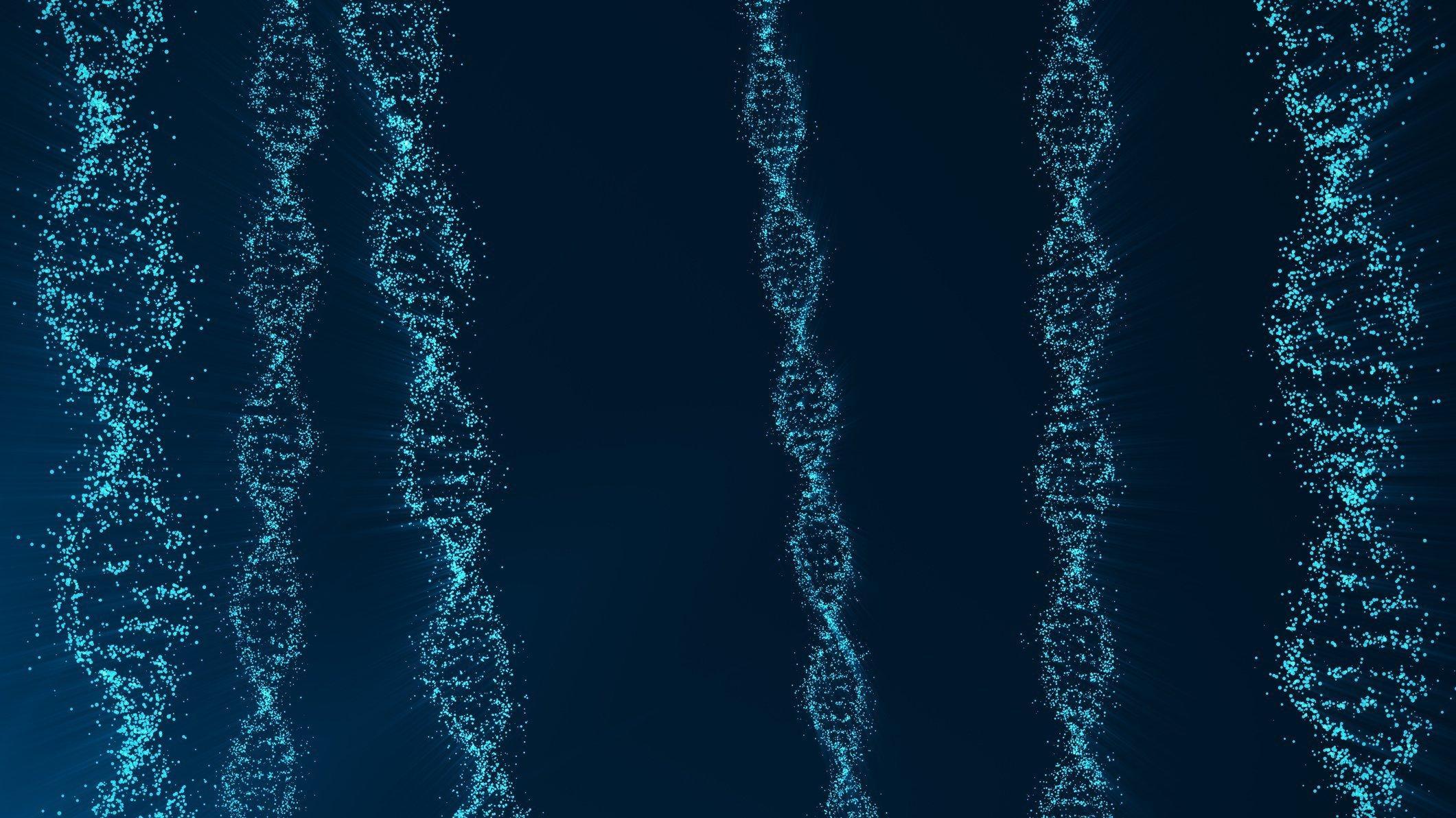 Symbolbild  zeigt mehrere blau eingefärbte DNA-Stränge