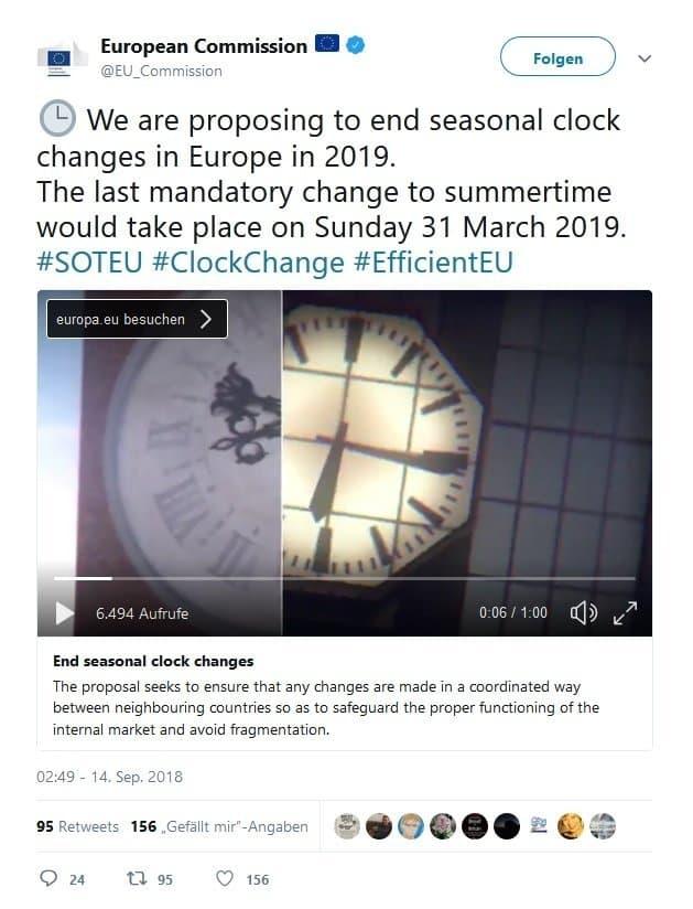 """Die Kommission der EU twittert, dass sie die Zeitumstellung abschaffen möchte: """"We are proposing to end seasonal clock changes."""""""