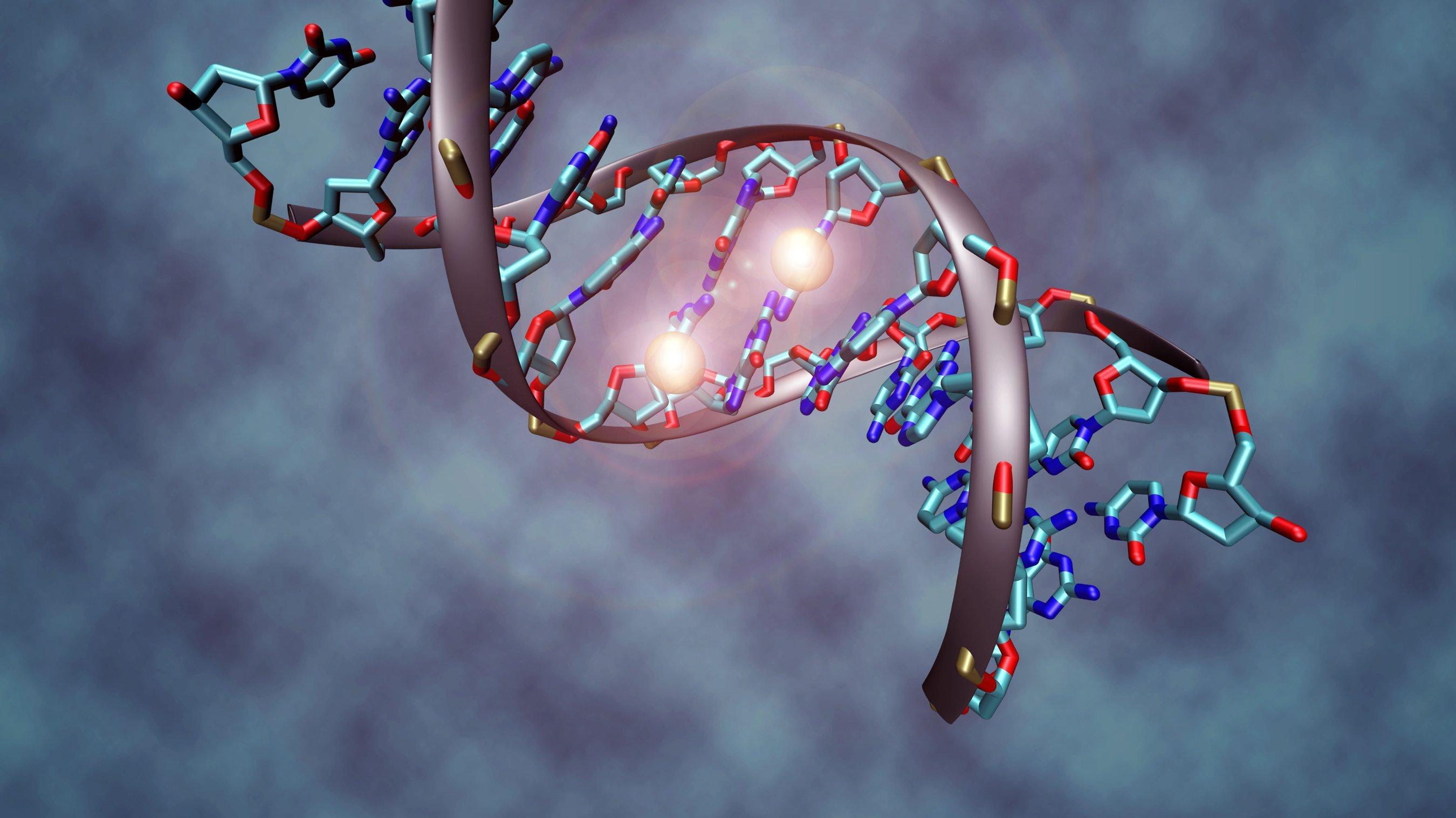 Grafische Darstellung eines methylierten DNA-Abschnitts.