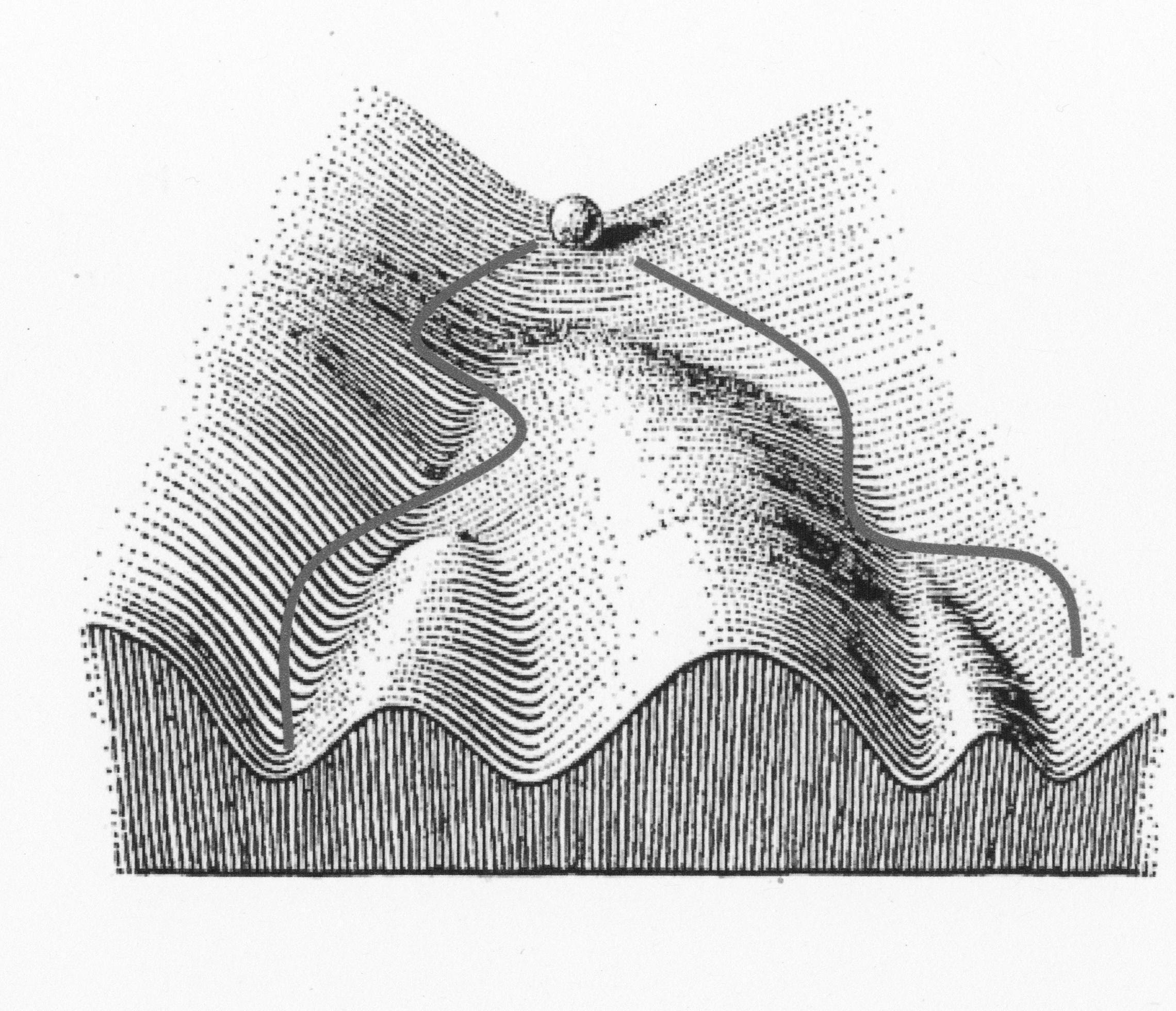 Eine Murmel kann in einer Landschaft in verschiedene Täler hinabrollen.