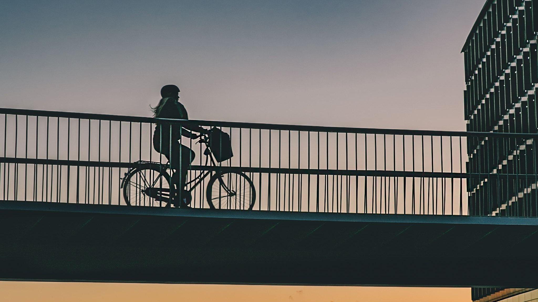 Das Bild zeigt die so genannte Fahrradschlange (auf EnglischCykelslangen, The Bicycle Snake). Das ist eine Brücke, die so konzipiert wurde, dass einzelne Teile der Stadt Kopenhagen für Fahrradfahrer und Fußgänger schneller miteinander verbunden werden. Autofahrer dürfen hier nicht drüber fahren.  http://www.visitcopenhagen.com/copenhagen/sightseeing/bike-city-copenhagen