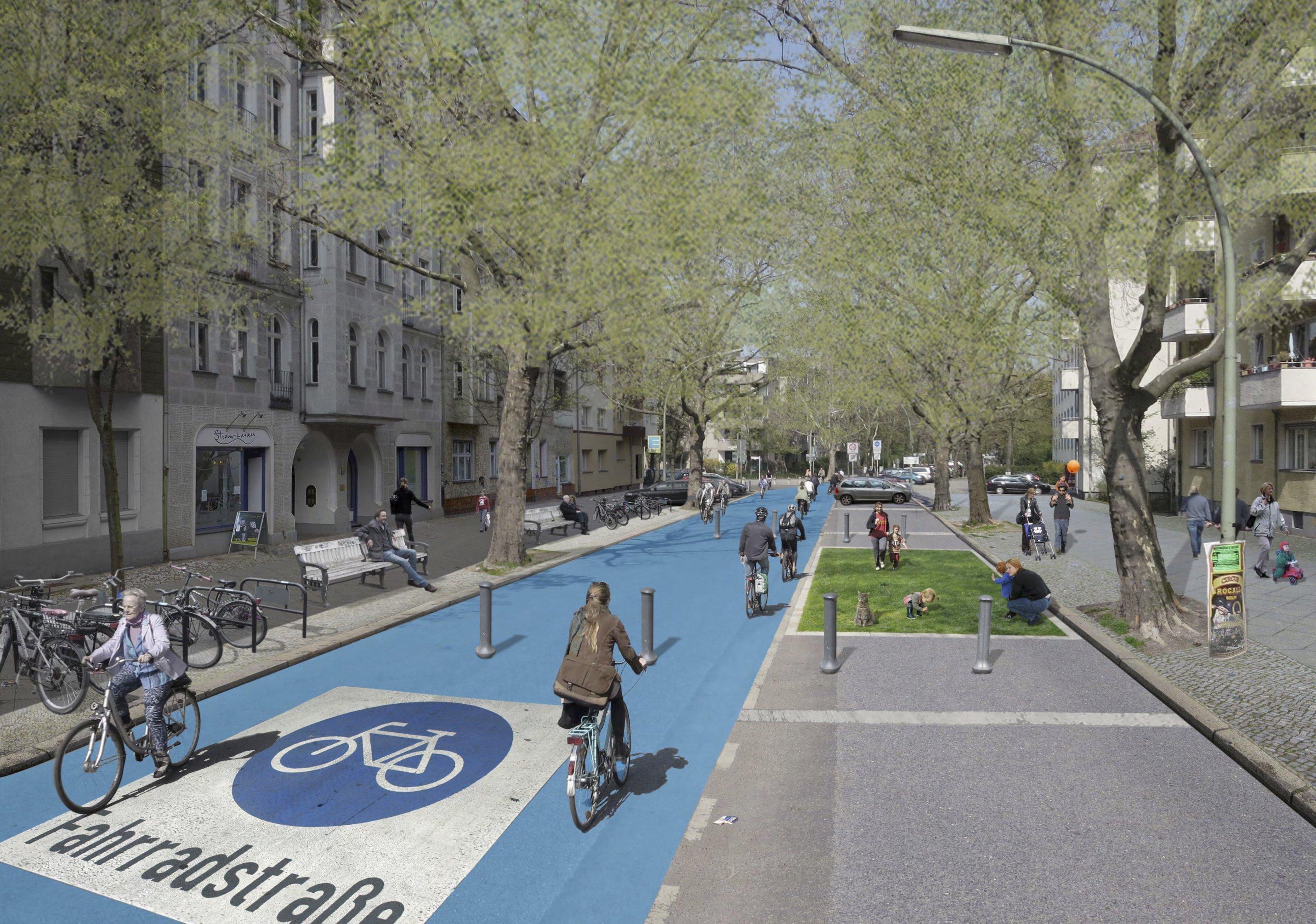 Radfahrer fahren durch eine Allee, die nur für Radfahrer gekennzeichnet ist.