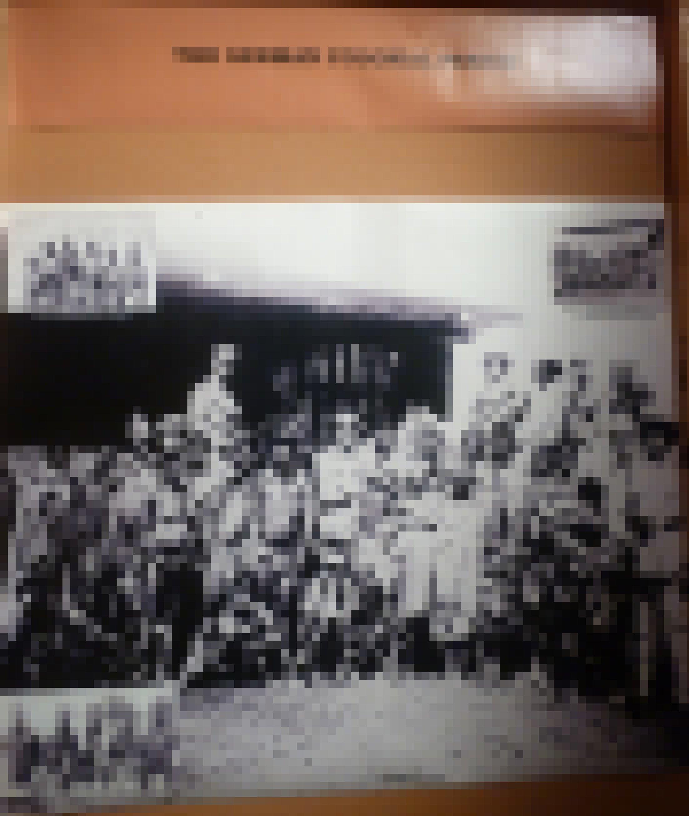 Das Foto zeigt deutsche Kolonialherren hinter ausgemergelten Männern, Frauen und Kindern, teils in Ketten.