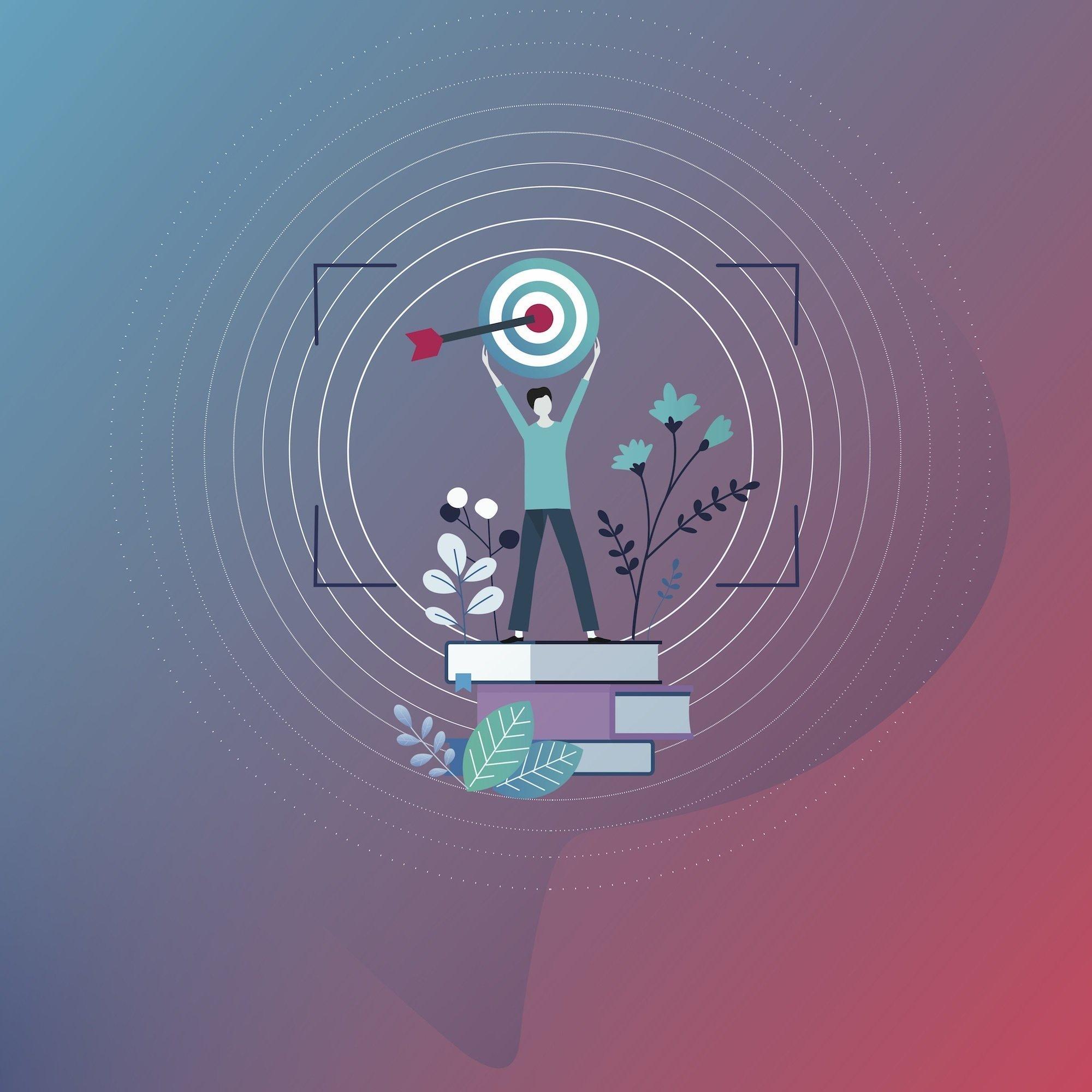 Eine Grafik zeigt eine Person, die auf Büchern steht und eine Zielscheibe hochhält, in deren Zentrum ein roter Pfeil steckt. Die Szene ist umgeben von konzentrischen Kreise und eingerahmt von den Ecken eines Rechtsecks, die den Eindruck eines Kamera-Suchers vermitteln. Im Hintergrund sind ein Farbverlauf von Rot nach Blau und eine angedeutete Sprechblase zu sehen. Der Bildtext lautet: Grafiken dieser Art prägen die Online-Version der Handbuch-Texte. Sie drücken symbolisch aus, worum es in einem Kapitel, oder hier der Einleitung, geht.