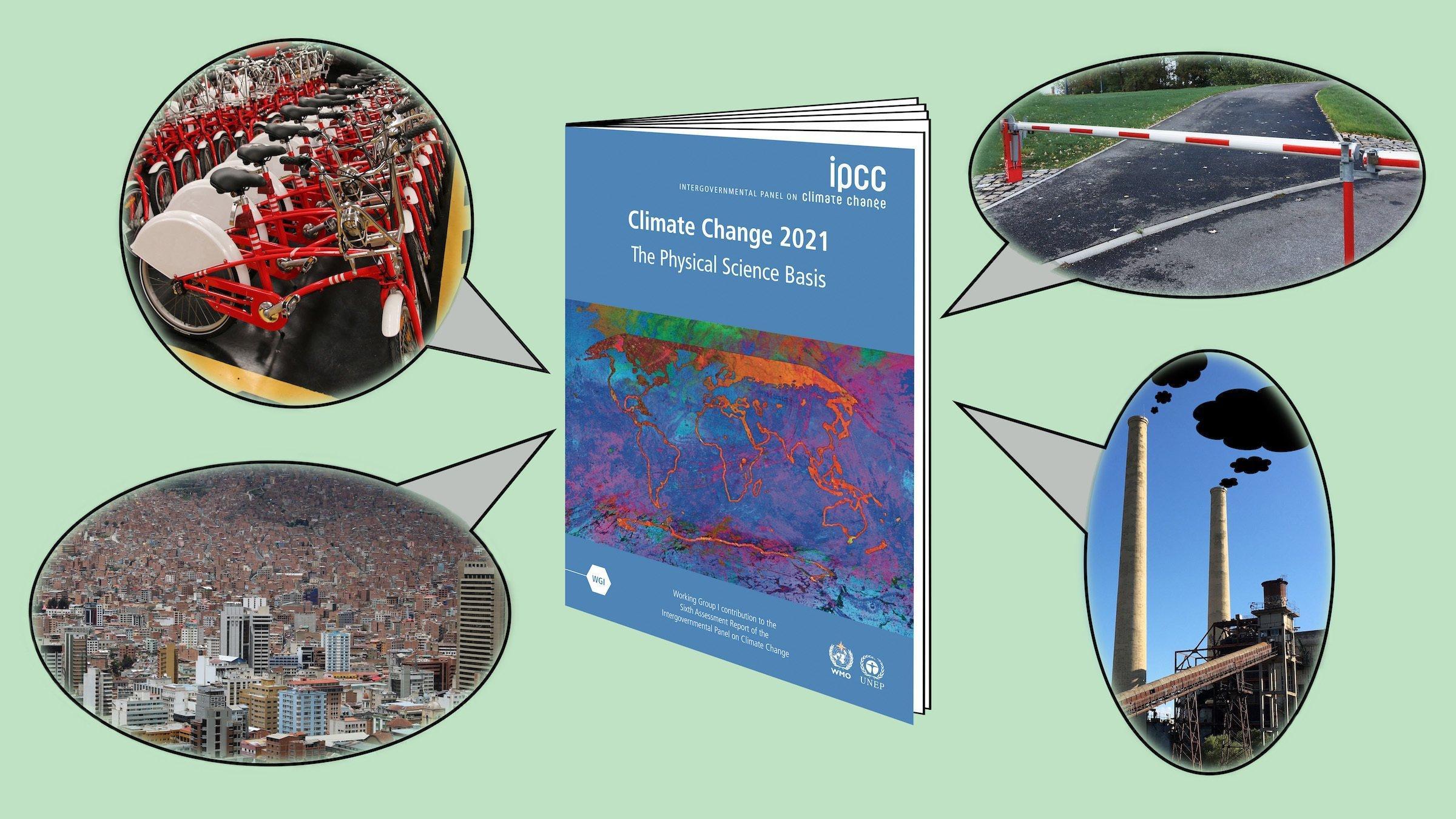 Das Bild ist eine Collage. In der Mitte steht der IPCC-Bericht wie ein Buch aufgestellt. Darum sind wie Sprechblasen Bilder aus verschiedenen Versionen der möglichen Zukunft angeordnet: eine dichtbewohnte Großstadt mit Hochhäusern für die Wohlhabenden und Hütten für die Armen; Leihfahrräder im Depot; ein altes Kohlekraftwerk, aus dessen Schornsteinen  pechschwarze Wolken dringen; und eine geschlossene Schranke.