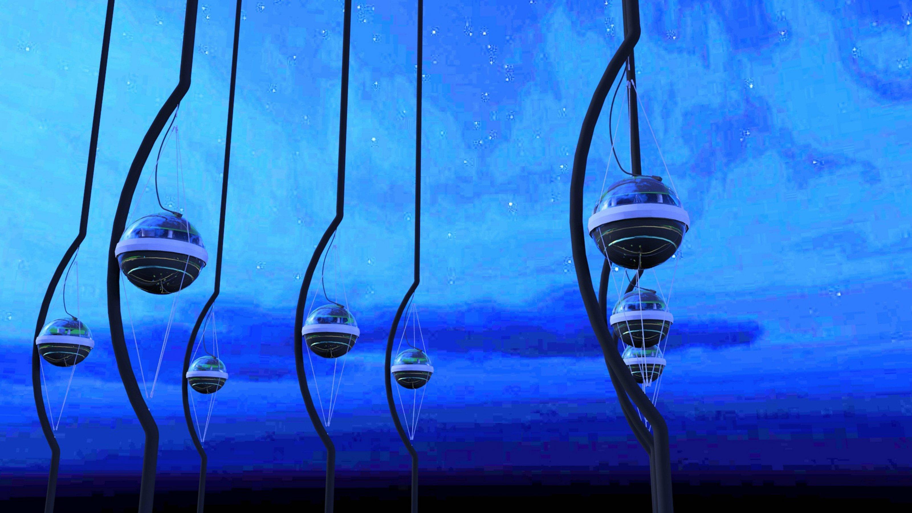 Die künstlerische Darstellung des IceCube-Experiments zeigt kugelartige Detektoren, die an bogenartigen Stangen aufgehängt sind.