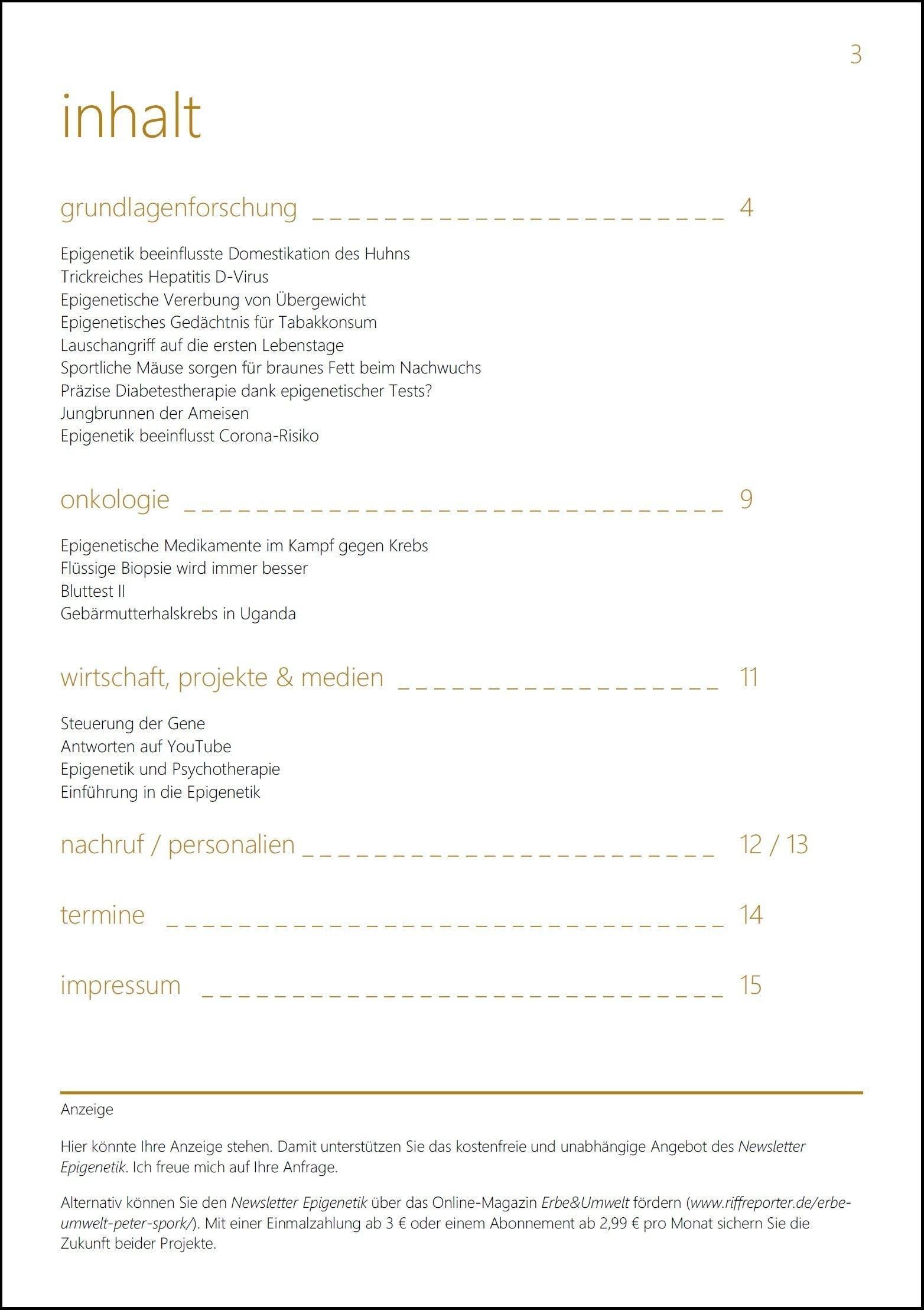 Seite 3, des Newsletter Epigenetik 33. Inhalt: Grundlagenforschung / Onkologie / Wirtschaft, Projekte & Medien / Personalien / Nachruf / Termine / Impressum