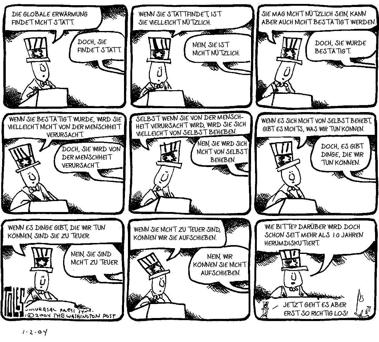"""Eine Karikatur. In neun Bildern bringt Onkel Sam am Rednerpult immer neue Gründe vor, warum der Klimawandel keine Problem ist, und wird jeweils aus dem Off korrigiert. – Die Stufen der Verleugnung. Entnommen aus """"Der Tollhauseffekt"""" (2018),"""