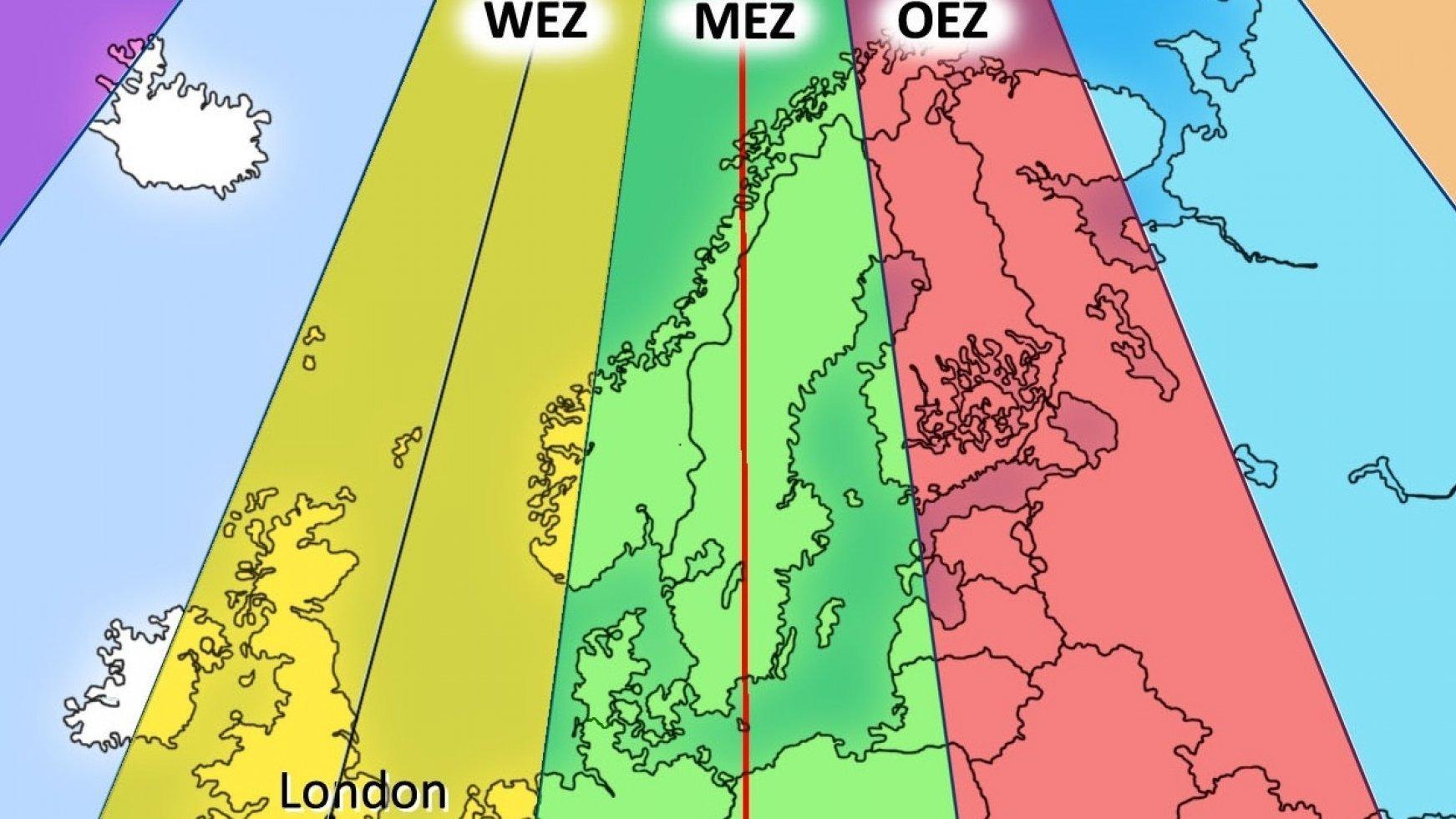 Eine Europakarte, die in mehrere Zeitzonen eingeteilt ist. Die Zeitzonen sind unterschiedlich angefärbt.