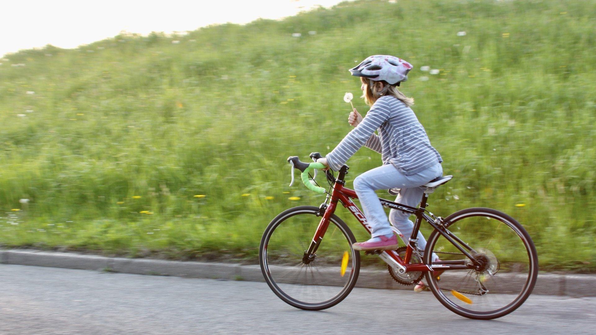 Ein achtjähriges Mädchen fährt auf einem roten Rennrad eine Deichstraße entlang und bläst dabei gegen eine Pusteblume