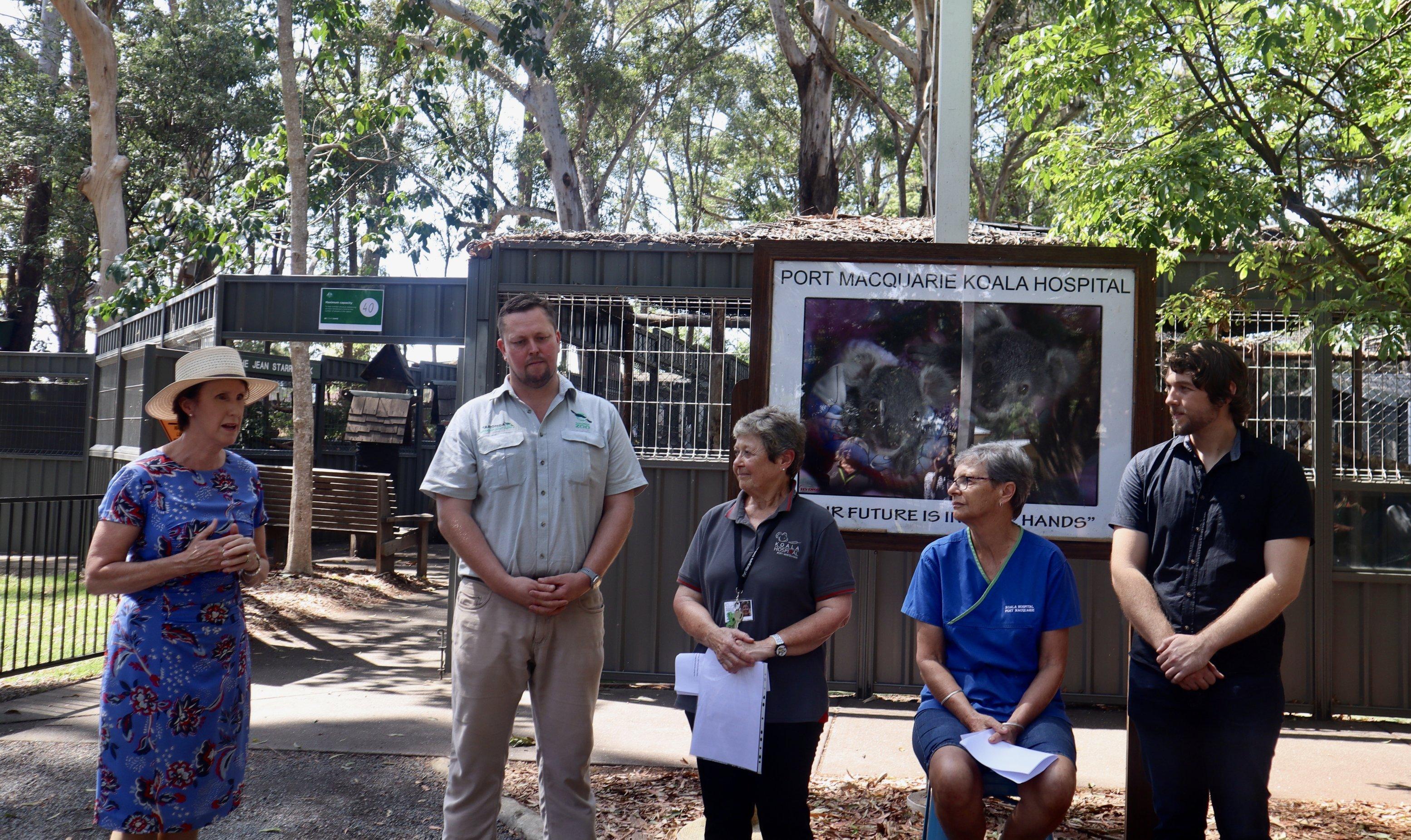 Unter dne Eurkalyptusbäumen des Koalahospitals in Port Macquarie stehen die Abgeordnete Leslie Williams, Artenschützer Nick Boyle, Präsidentin Sue Ashton, Koala-Expertin Cheyne Flanagan und Genetik Matt Lott bei einer Feier zur Eröffnung des Zuchtprogramms.