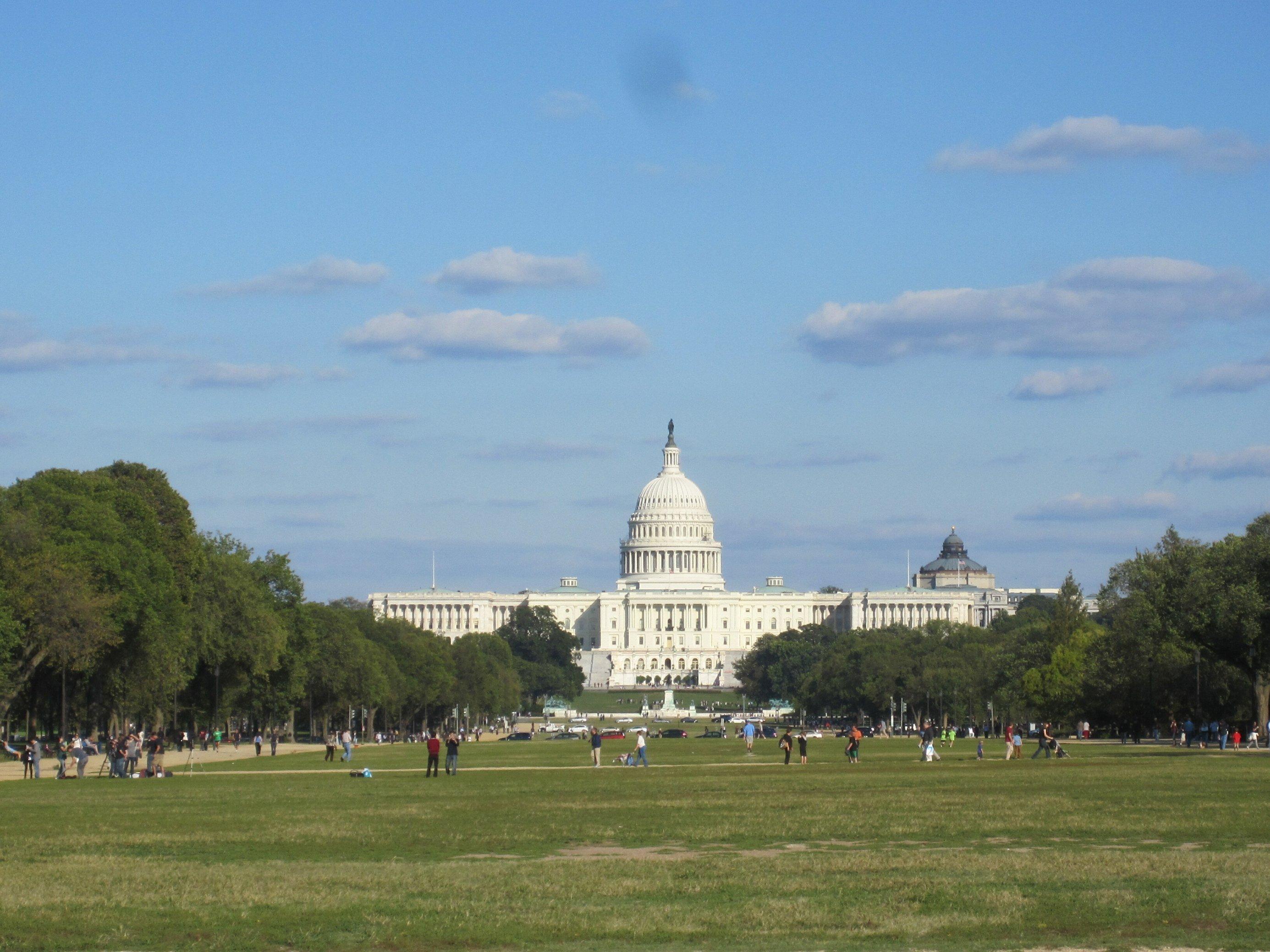 Das Kapitol in Washington, D.C. Im Vordergrund halten sich Menschen auf dem Rasen auf.