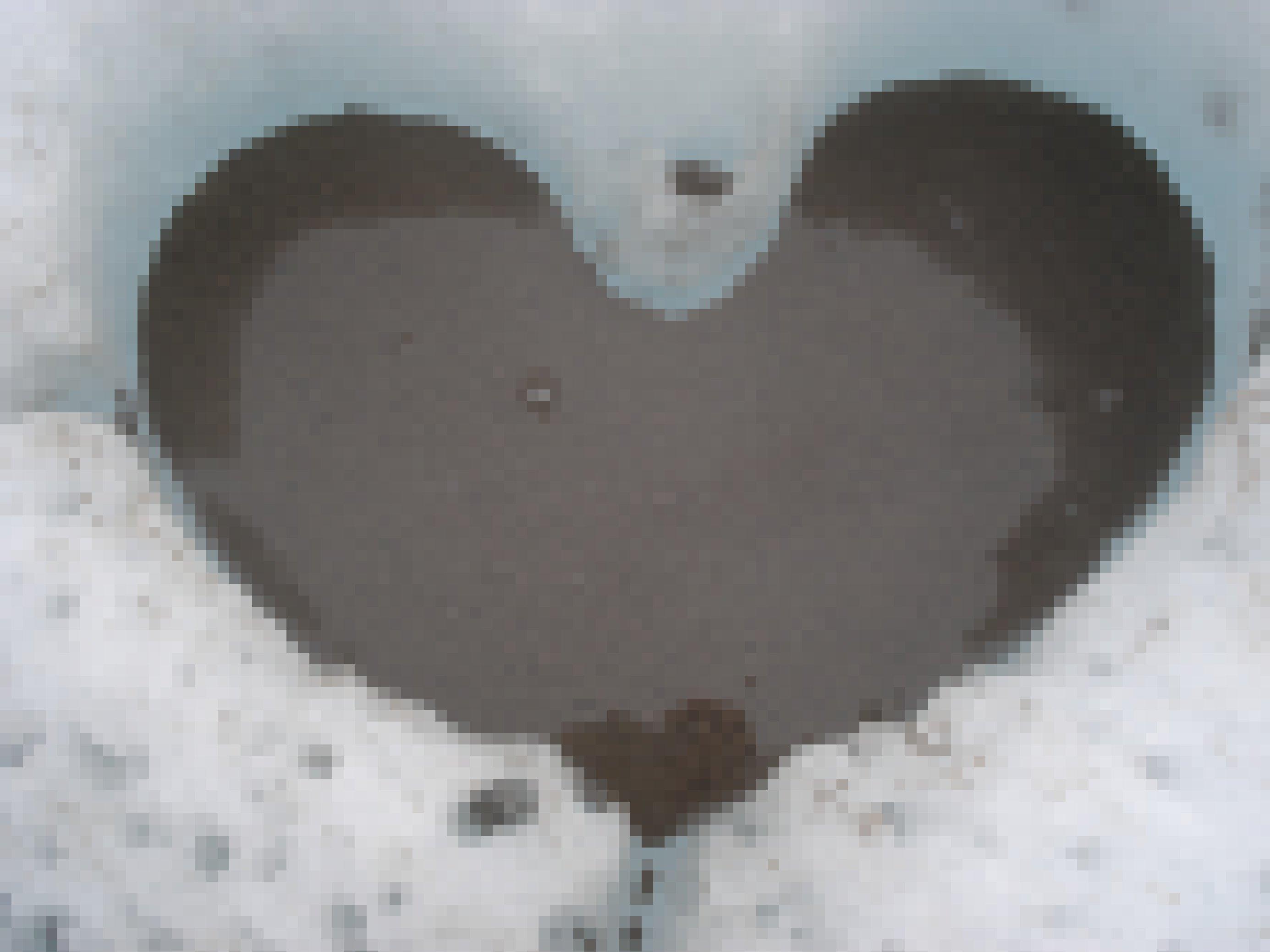 Herzförmige Schmelzvertiefung auf der Gletscheroberfläche, gefüllt mit Wasser und dunklen Krümeln, Kryokonit genannt.