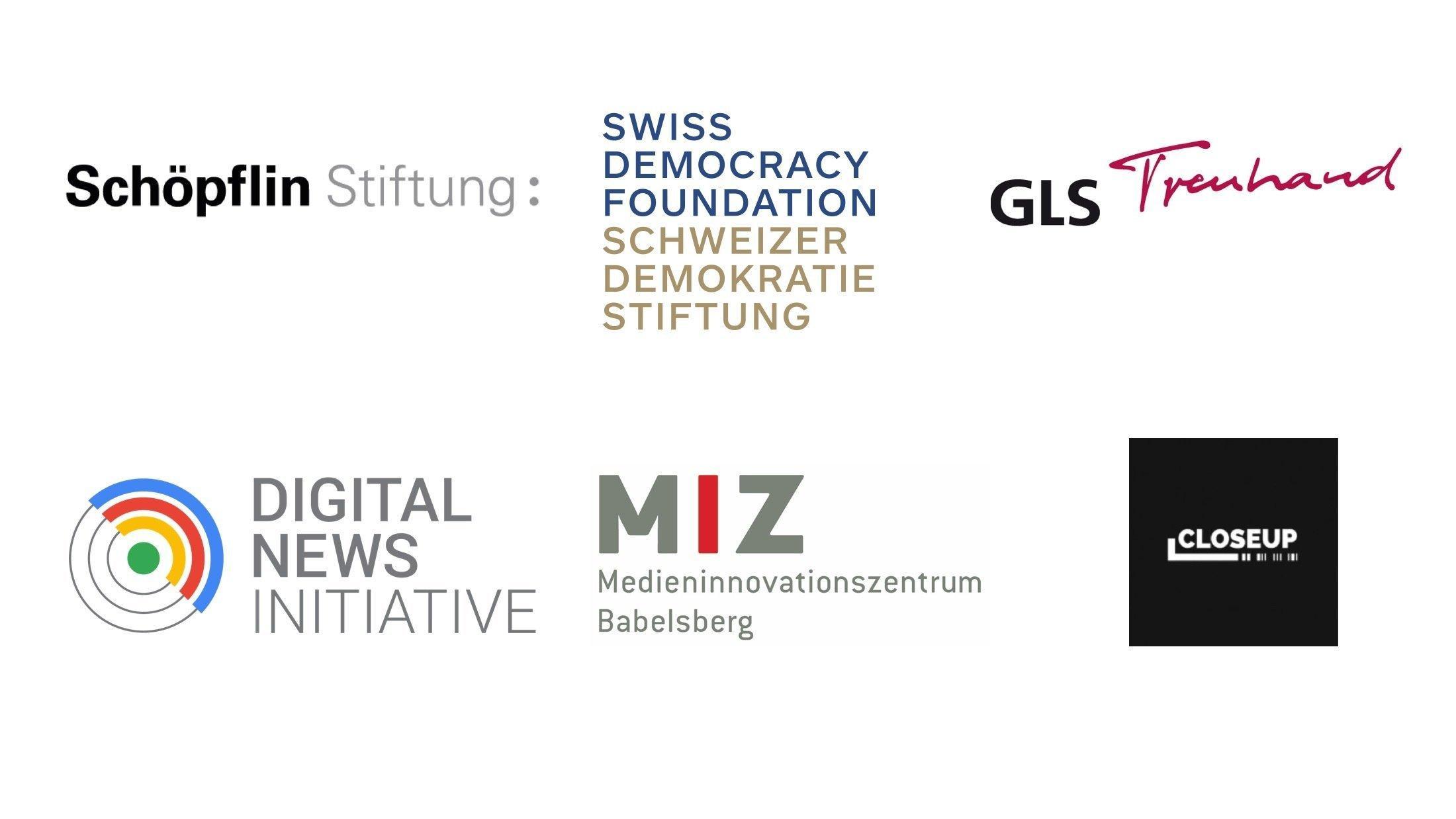 Logos der Schöpflin Stiftung, Schweizer Demokratie Stiftung, GLS Treuhand, Google Digital News Initiative, MIZ Babelsberg und Nordmedia.