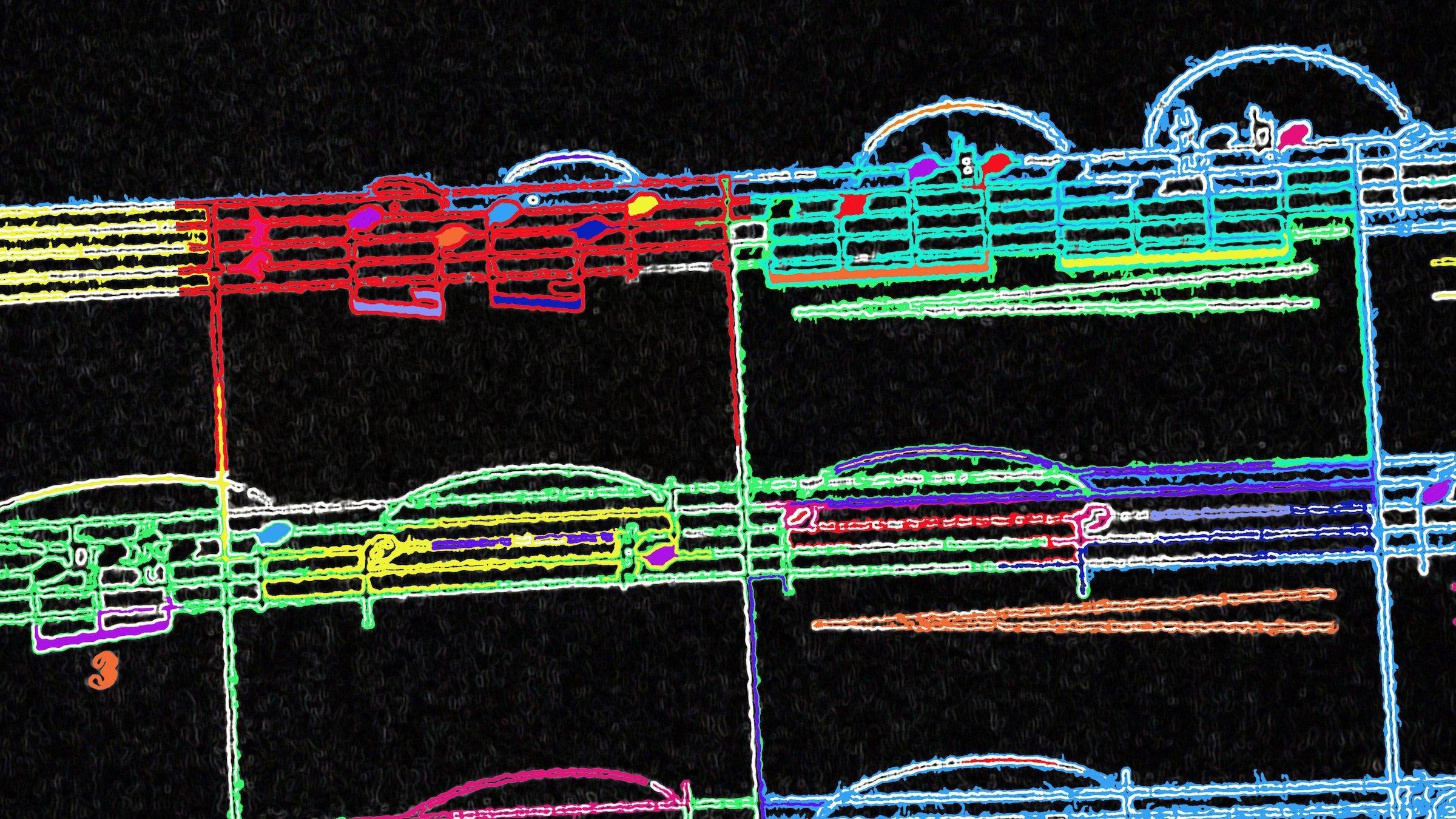 Stark verfremdete Aufnahme einiger Notenzeilen. Auf schwarzem Hintergrund sind die Noten und Linien in regenbogen-Farben eingefärbt. Text dazu: Gibt es eigentlich Musik, die die Klimakrise thematisiert. Songs, die Gemeinschaft auf der Demo schaffen und Identität beim Klimaschutz? Teil 2: englisch-sprachige Songs