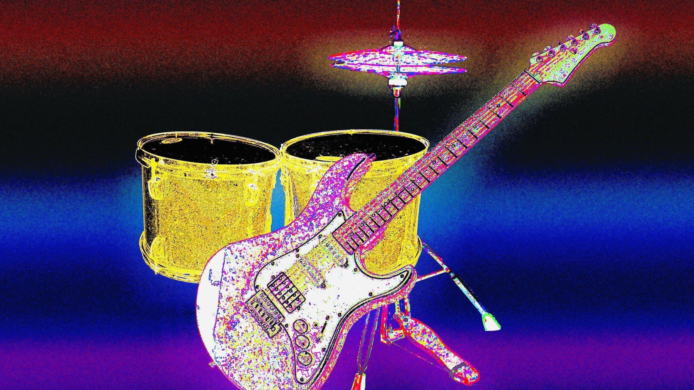 Fotomontage mit einer E-Gitarre, TomTom-Trommeln und Hi-Hat-Becken, die farbig verfremdet wiedergegeben werden. Der Text dazu: Gibt es eigentlich Musik, die die Klimakrise thematisiert. Songs, die Gemeinschaft auf der Demo schaffen und Identität beim Klimaschutz?