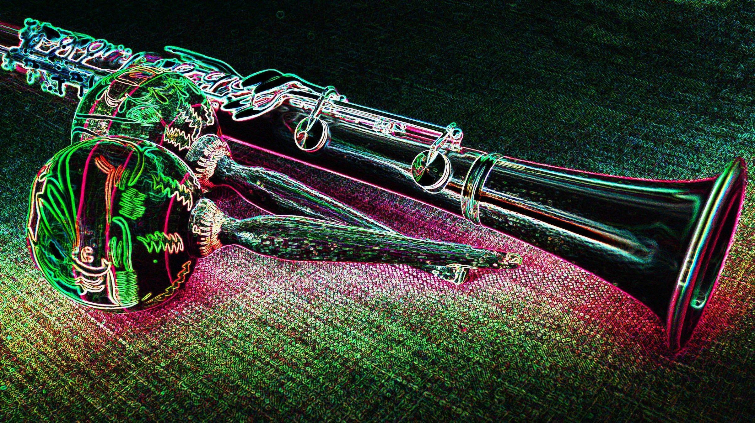 Stark verfremdete Aufnahme einer Klarinette zusammen mit zwei Maracas oder Rumba-Rasseln. Ein Filter hat die Konturen auf dem Bild wie mit vielfarbigem Neonlicht verstärkt. Text dazu: Die Wahl der Instrumente und Musikstile ist egal – wichtig ist der Vorsatz, mit dem Song etwas über die Klimakrise auszusagen.