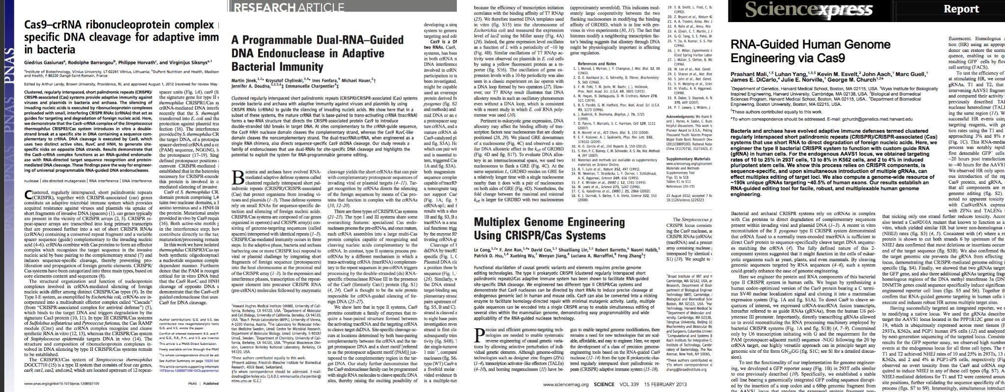 Die ersten Seiten der vier wichtigen Fachartikel mit den Berichten über CRISPR/Cas9als Genschere.