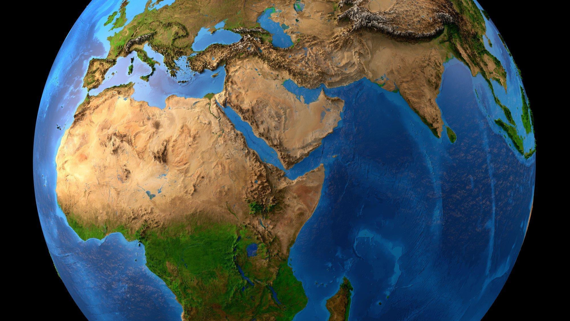 Eine geographische Darstellung der Erde.