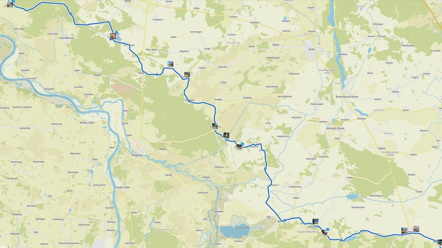 Landkarte mit der Reiseroute des RadelndenReporters, auf der die Fotostationen vermerkt sind.