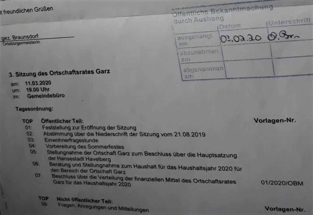 Auszug der Sitzungseinladung für den 11. März, mit acht Tagesordnungspunkten, darunter Planung des Sommerfestes.