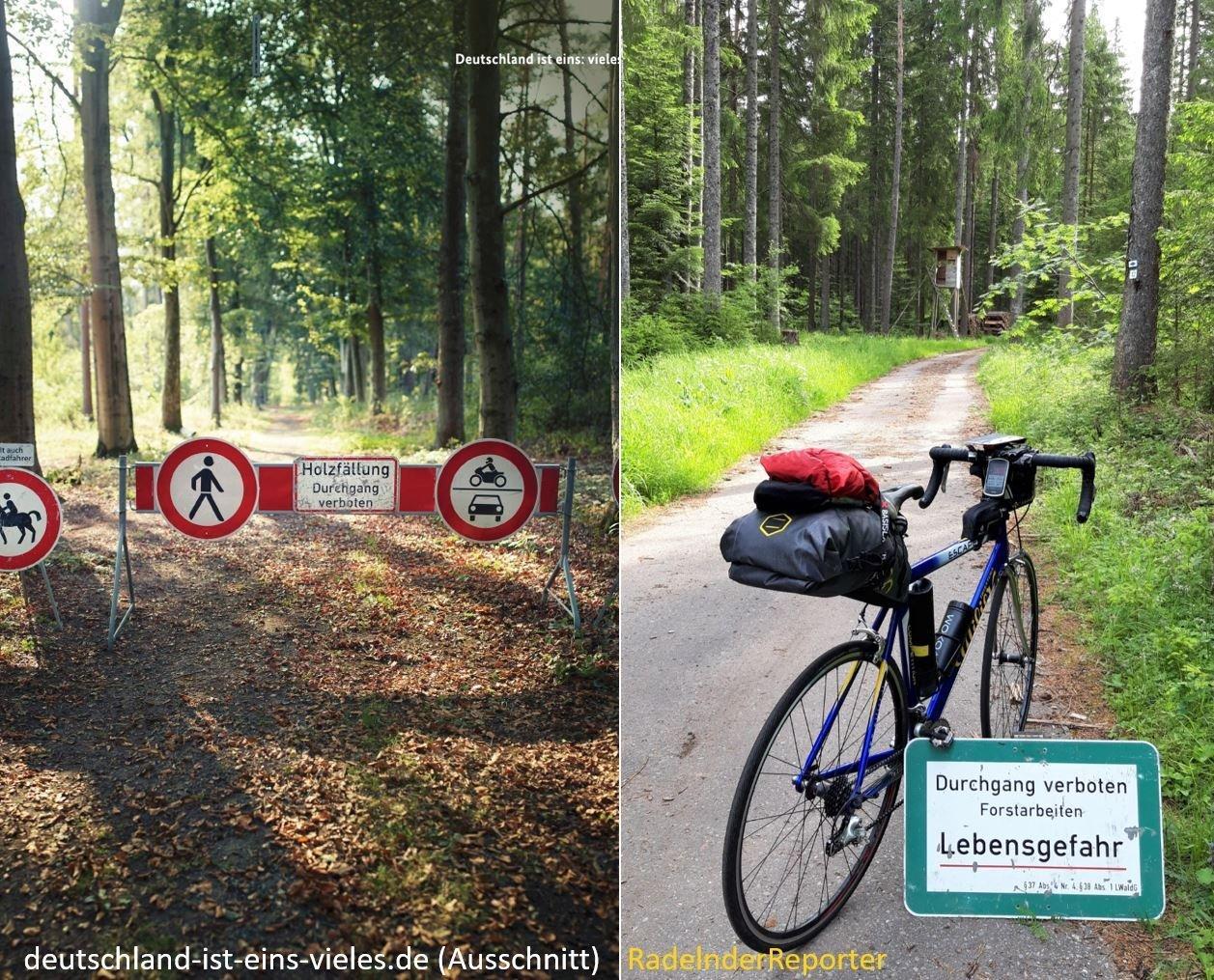 zweigeteiltes Bild: links das Bild der Regierungskampagne, rechts das des RadelndenReporters; beide Bilder zeigen Verbotsschilder im Wald.