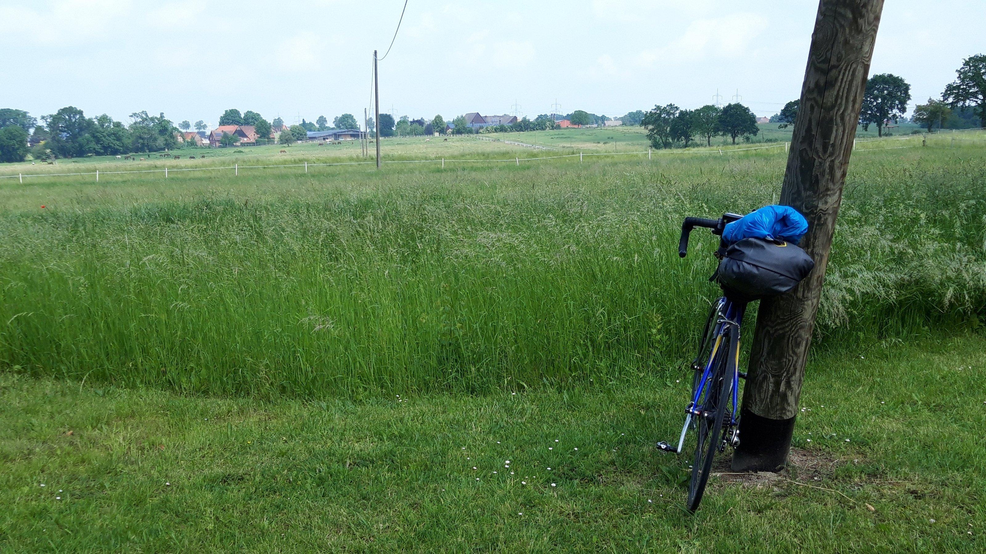 Gefährt des RadelndenReporters vor übbigem Weizenfeld, im Hintergrund Ahlen.