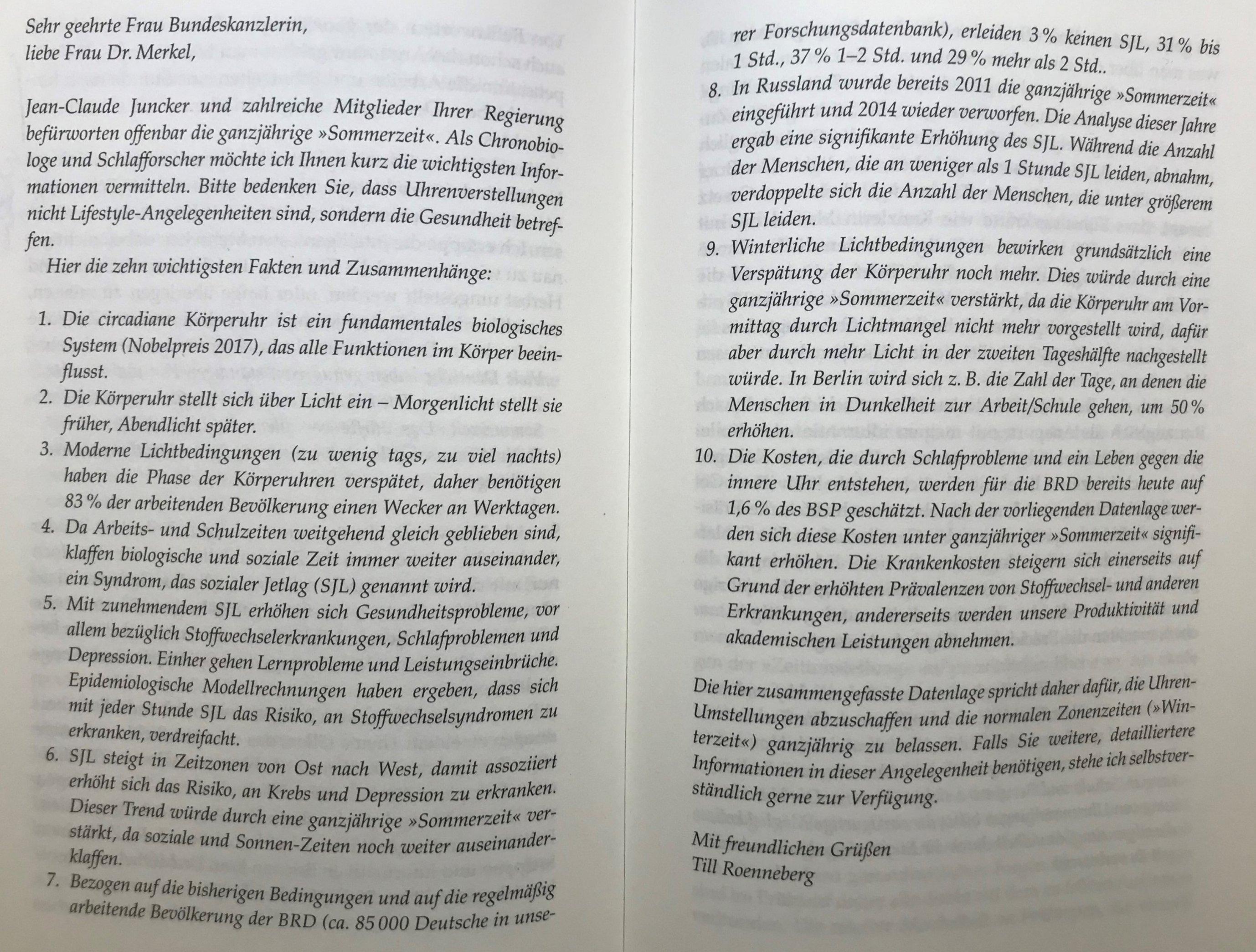 Offener Brief von Till Roenneberg an Angela Merkel.