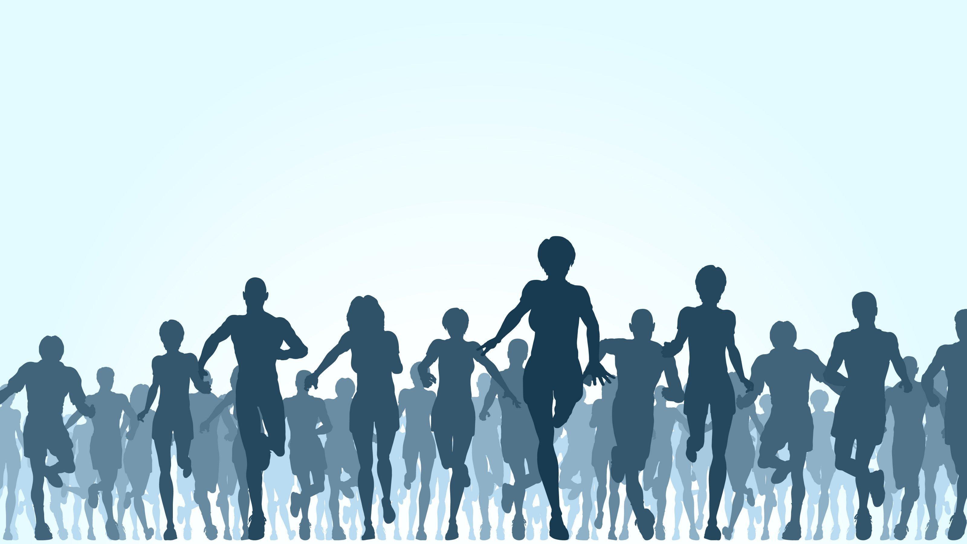 Die Illustration zeigt eine große Gruppe rennender Menschen.