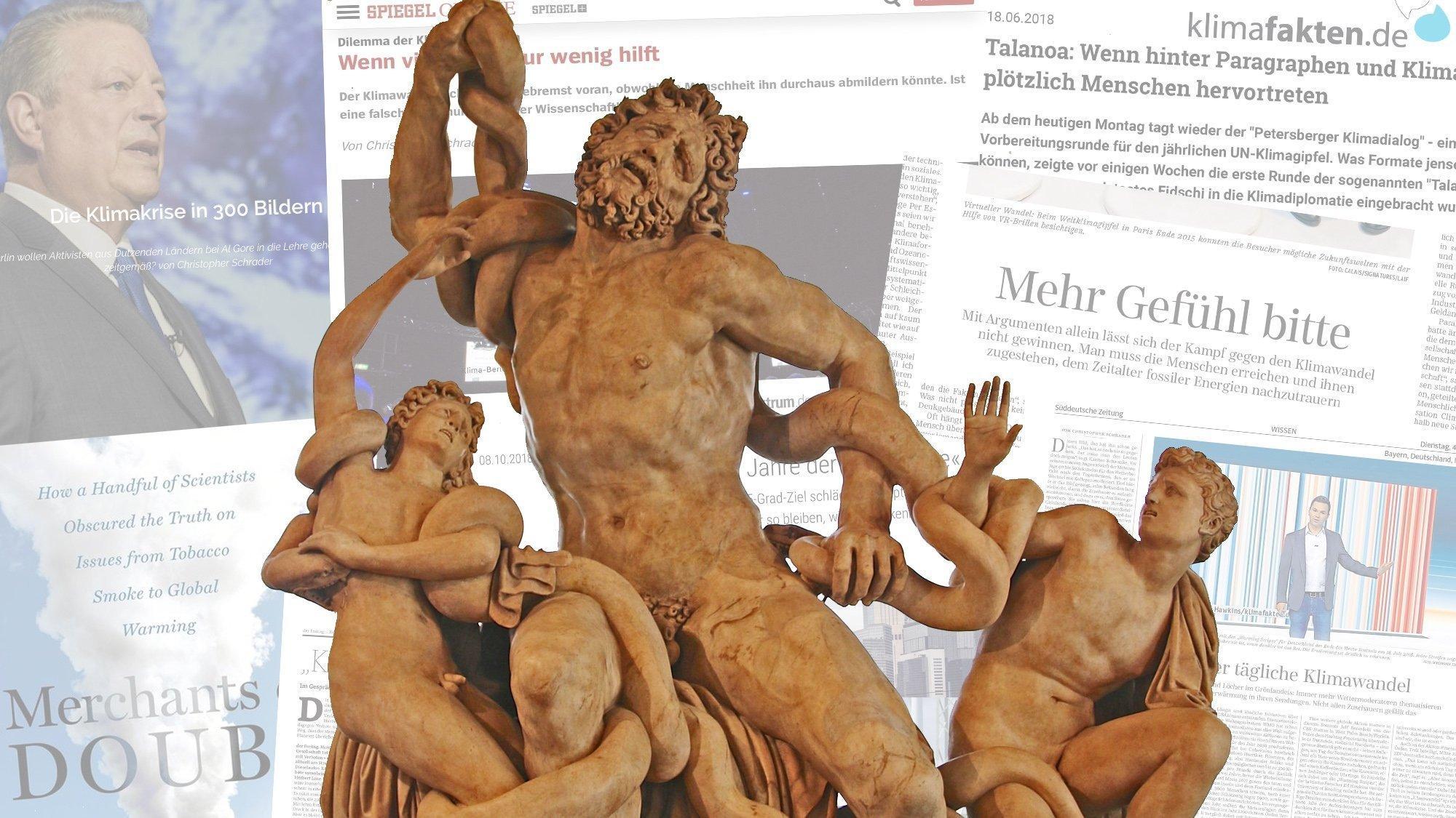 Die Laocoon-Gruppe von Bacia Bandinelli in den Uffizien von Florenz ist eine 1524vollendete Kopie des antiken Originals. Der Vater und seine beiden Söhne winden sich im Todeskampf vor einer Collage von Zeitungs- und Onlineartikeln sowie dem Cover des Buchs Merchants of Doubt.