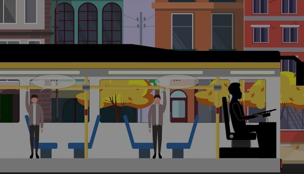 Screenshot aus der Website der Studierenden: Man sieht einen Bus mit Fahrgästen. Hinter den anklickbaren Sprechblasen verbergen sich die Ansichten von Bürgerinnen und Bürgern zur Künstlichen Intelligenz.