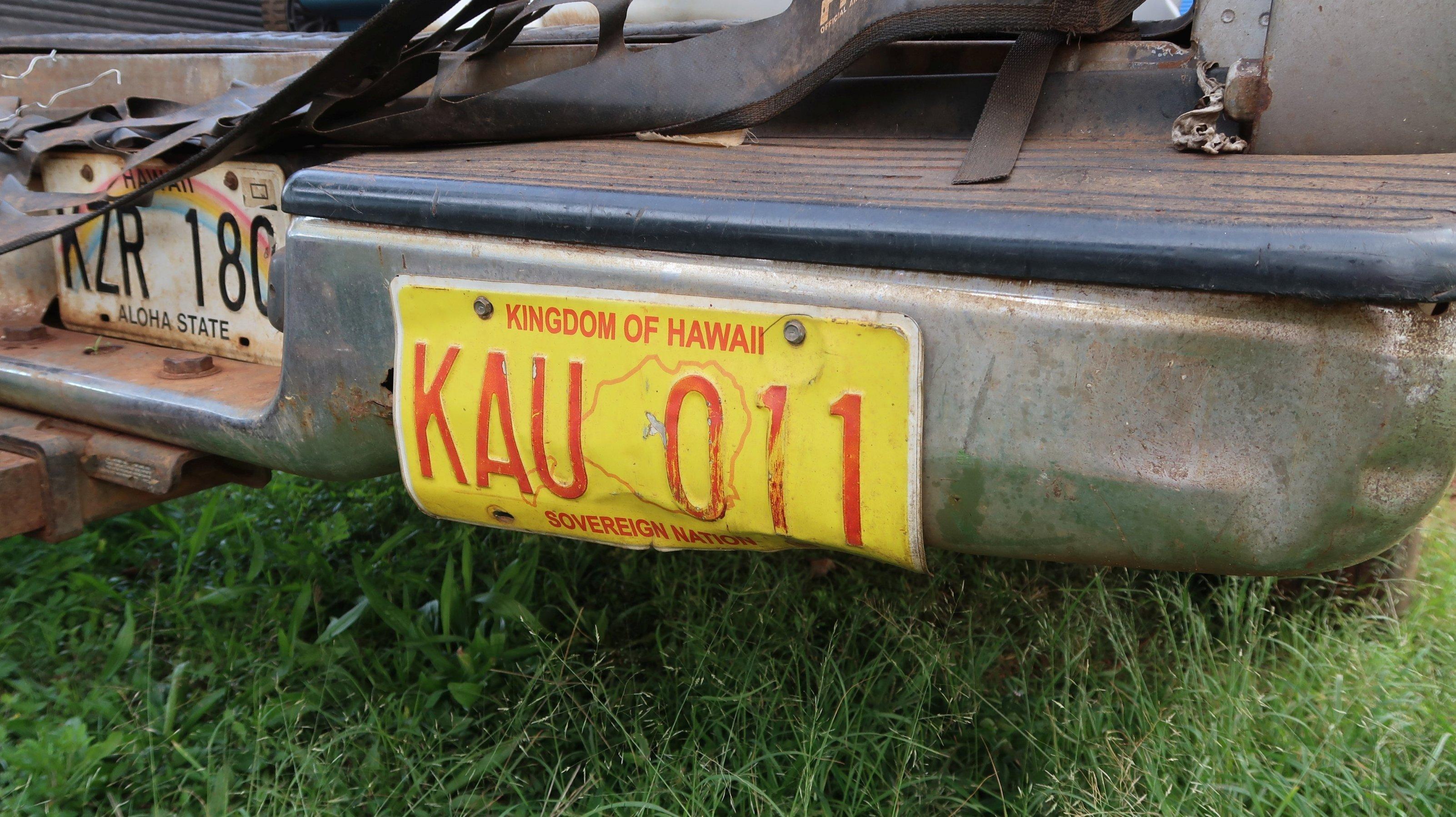 """Ein Nummernschild mit der Aufschrift """"Kingdom of Hawaii"""""""