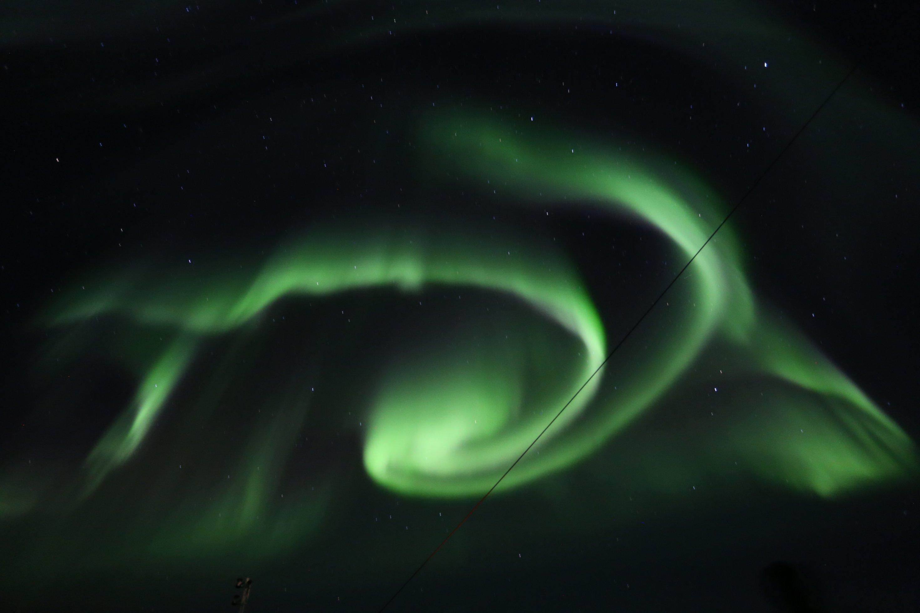 Polarlichtspirale in Norwegen.