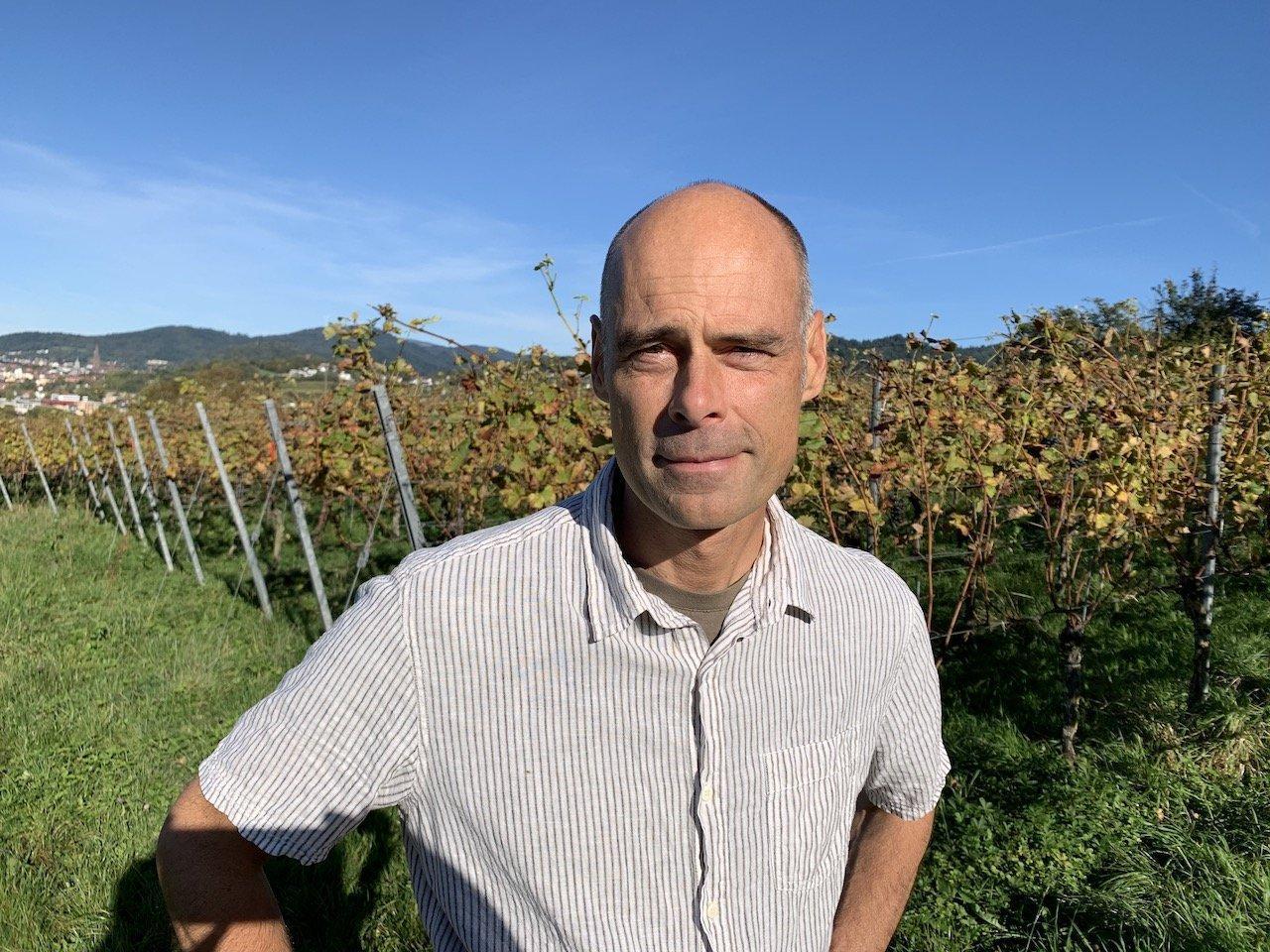 Stefan Gössling steht im Herbst inmitten von Weinstöcken. Stefan Gössling hat eine Glatze und trägt ein kurzärmeliges Hemd. Das Laub der Blätter ist gefärbt und vereinzelt hängen noch dunkelblaue Weinreben im Laub