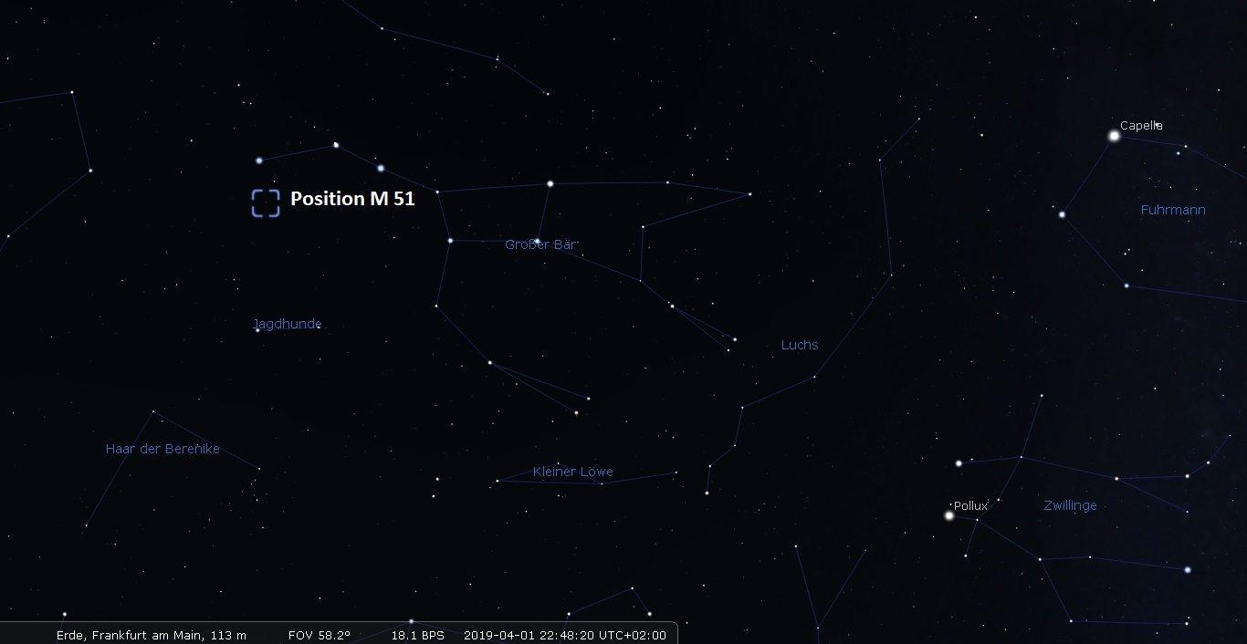Aufsuchkarte für die Whirlpol-Galaxie M51.