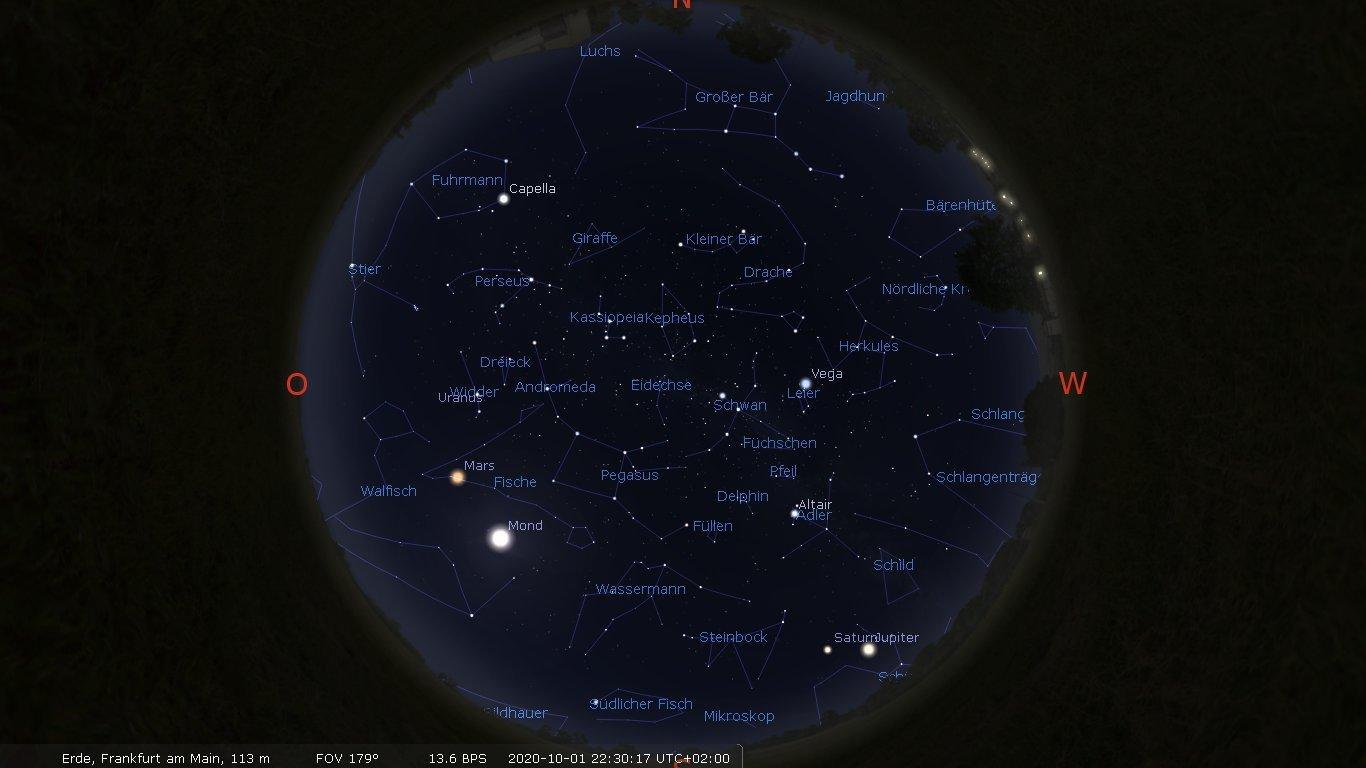 Die Himmelskarte zeigt die Stern- und Planetenpositionen für Anfang Oktober 2020 über Frankfurt am Main gegen 22:30Uhr MESZ.