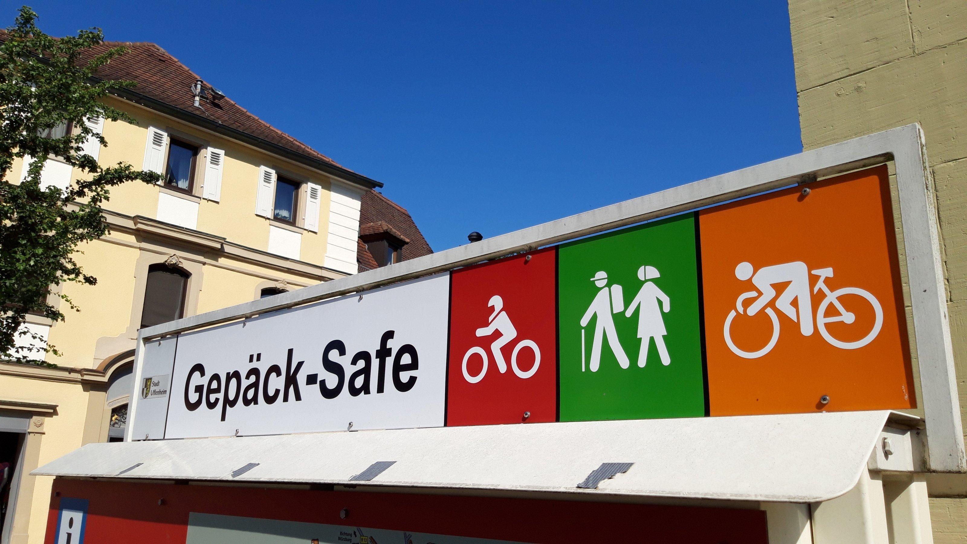Gepäck-Safe-Schild mit Symbol für Rennradfahrer.