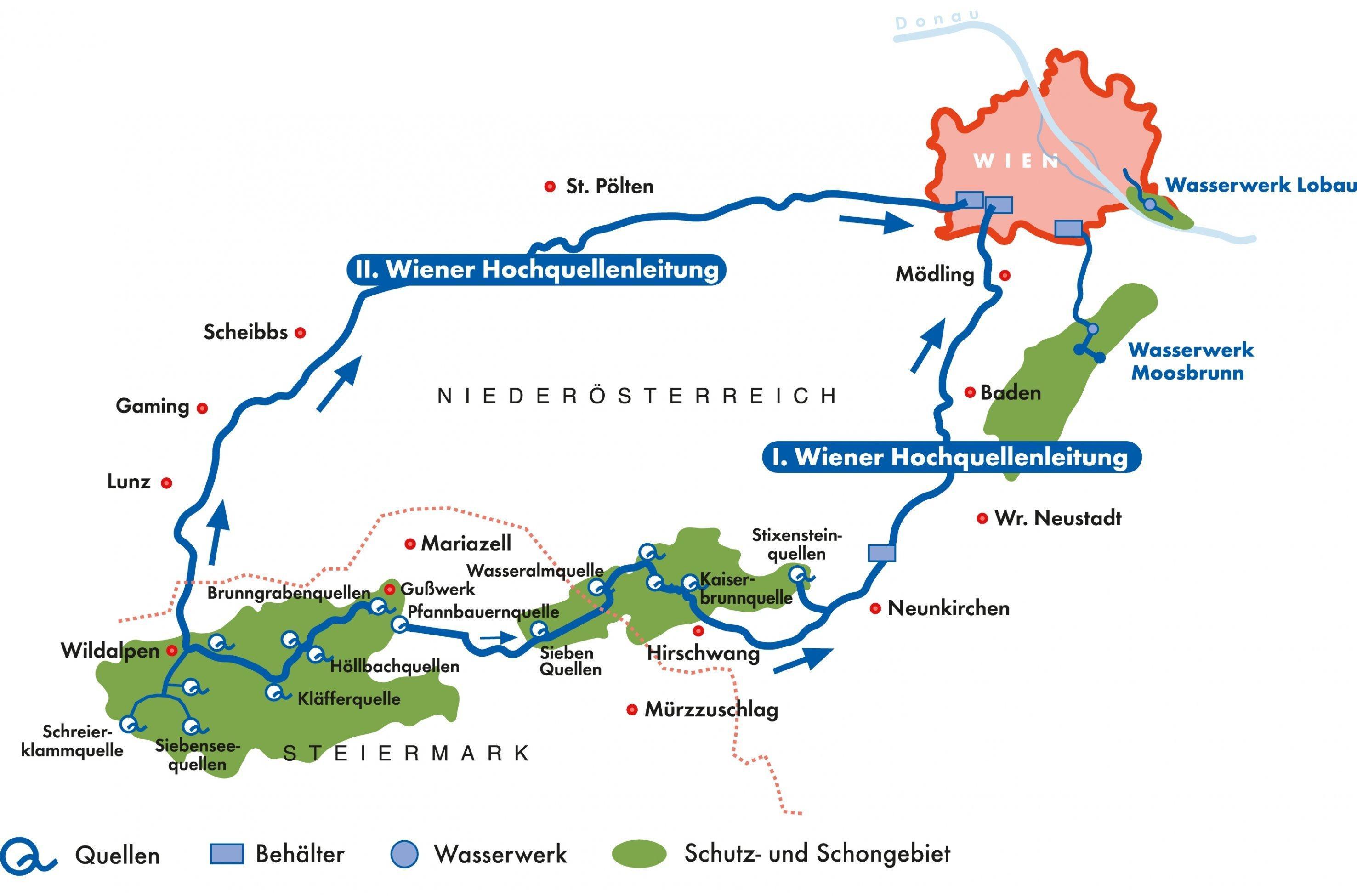 Graphik über den Verlauf der Hochquellenleitungen nach Wien