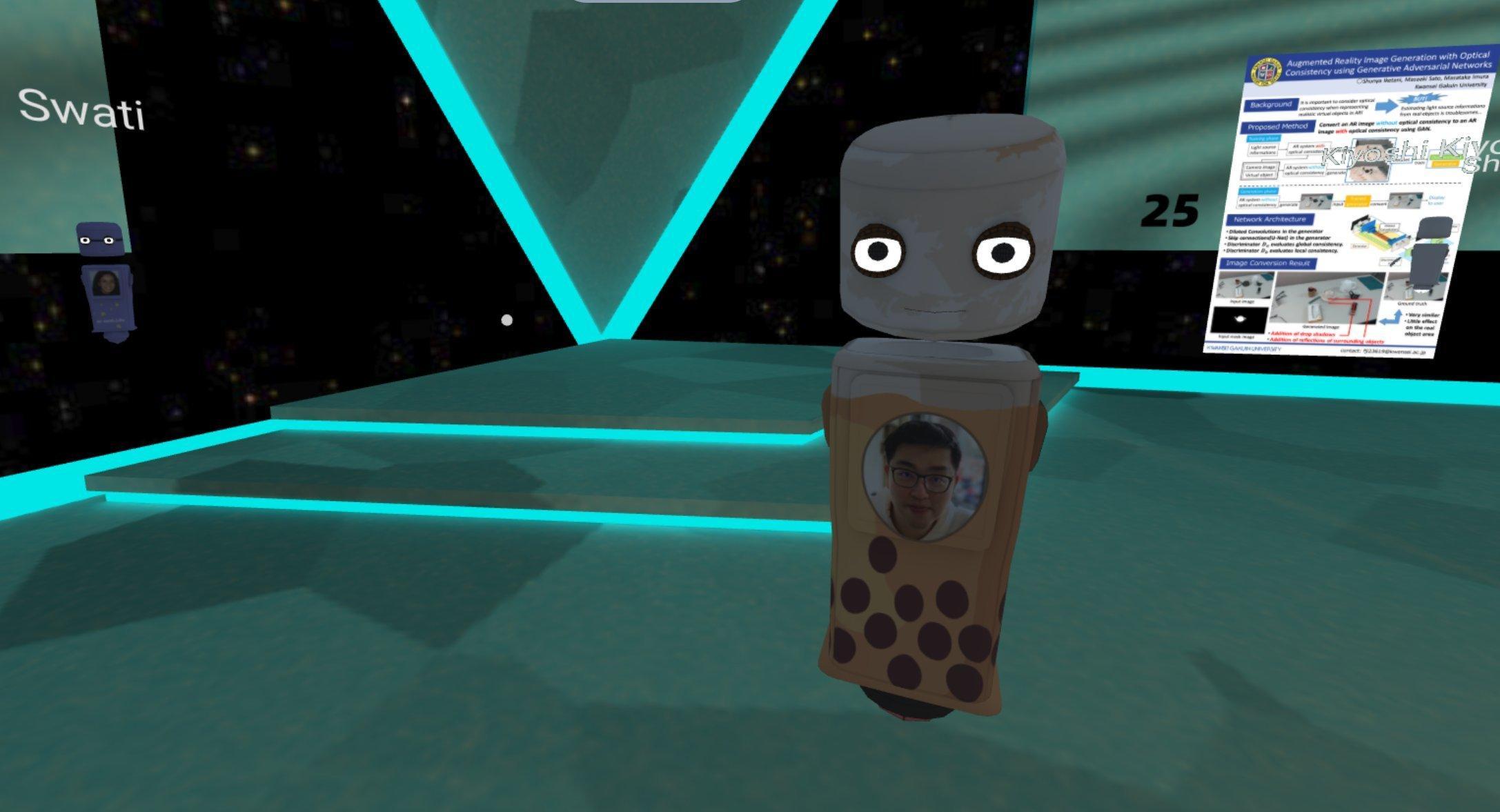 """Ein Avatar-Körper steht auf der Konferenz in VR. Auf seiner Brust ist ein Foto seines """"Besitzers"""" zu sehen."""