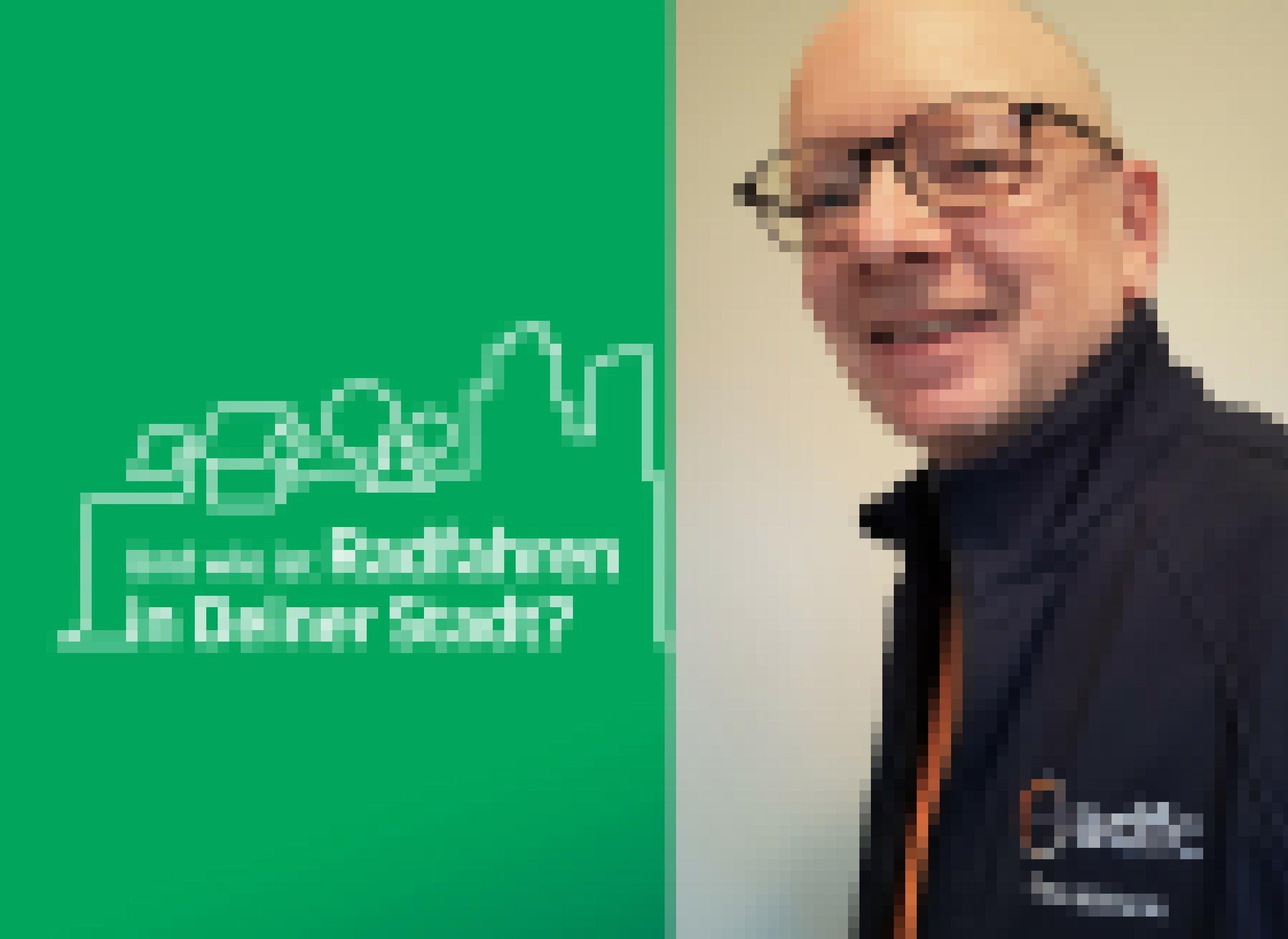 """Im linken Bildteil ist unter der symbolischen Metropol-Silhouette zu lesen """"Und wie ist Radfahren in Deiner Stadt?"""". Der rechte Bildteil zeigt ein Porträt von Klaus Mutterer, ADFC Baden-Baden."""
