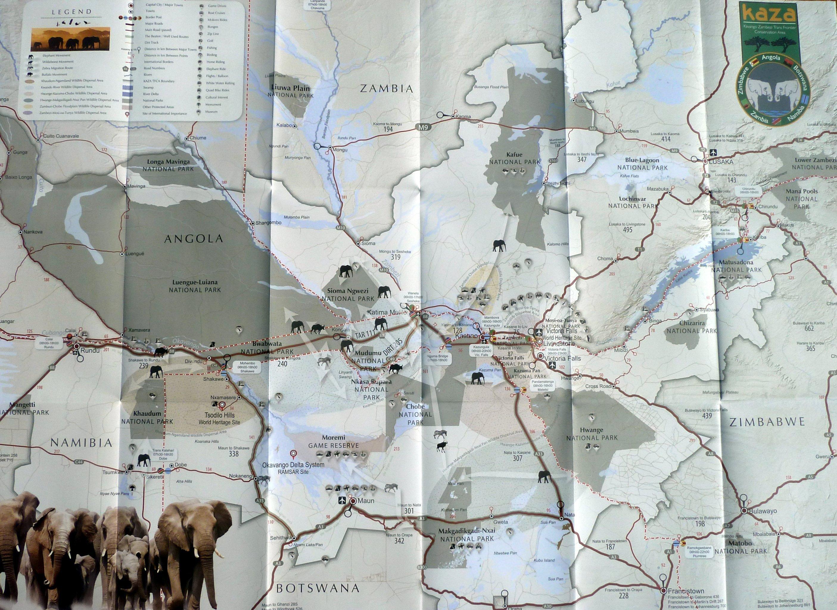 Eine Karte vom KAZA-Schutzgebiet, das sich über mehrere Landesgrenzen erstreckt