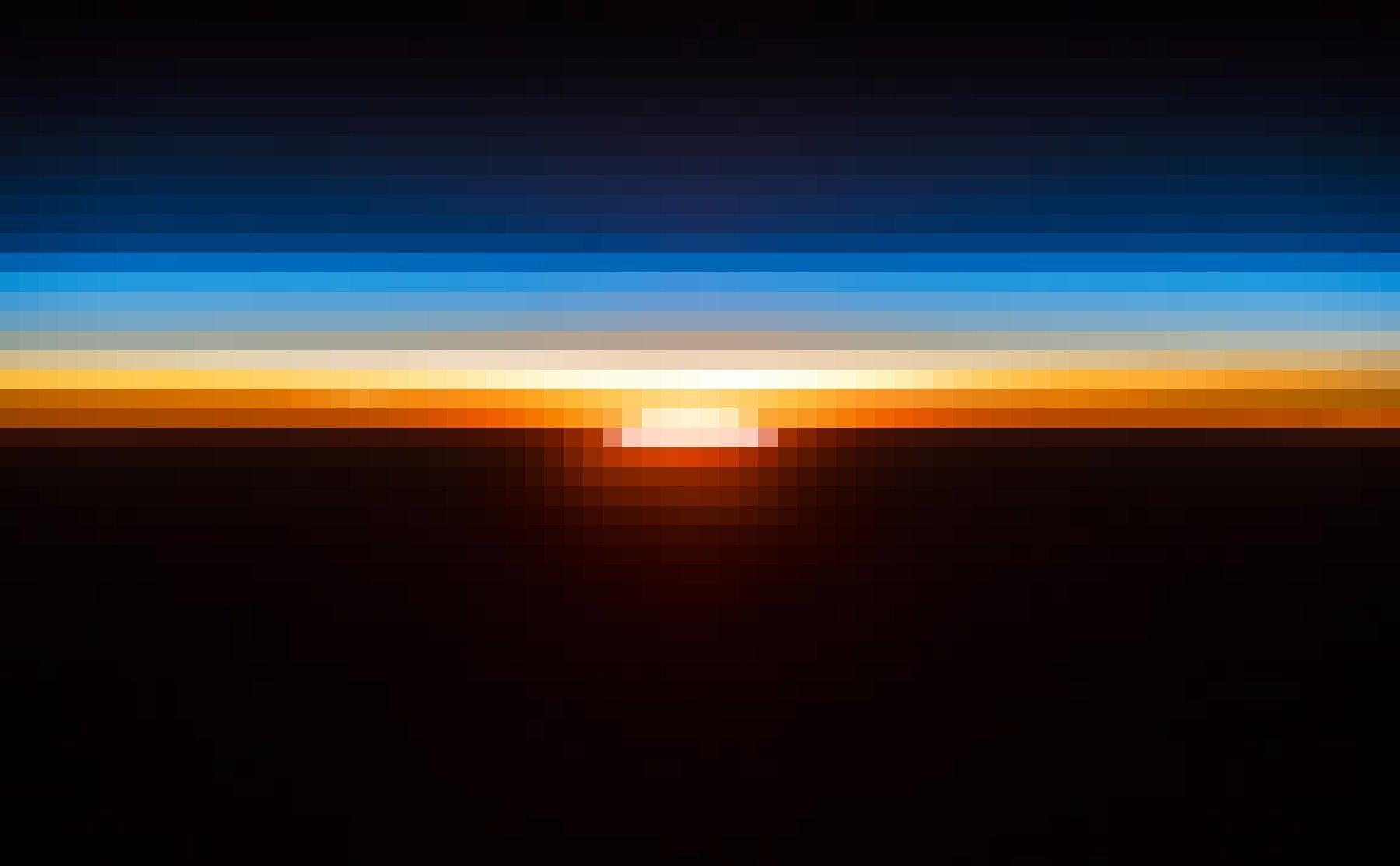 Ein Sonnenaufgang, vom Erdorbit aus vom deutschen Raumfahrer Alexander Gerst fotografiert. Über der aufgehenden Sonne die dünne, orange-blaue Erdatmosphäre, darüber die Schwärze des Weltalls.