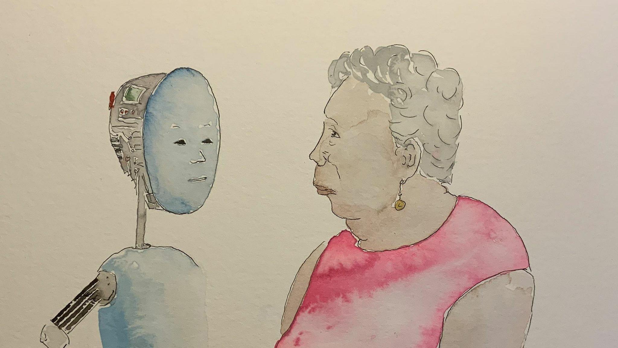 Die Zeichnung zeigt eine alte Dame, die einen Roboter mit einem menschlichen Gesicht anschaut.
