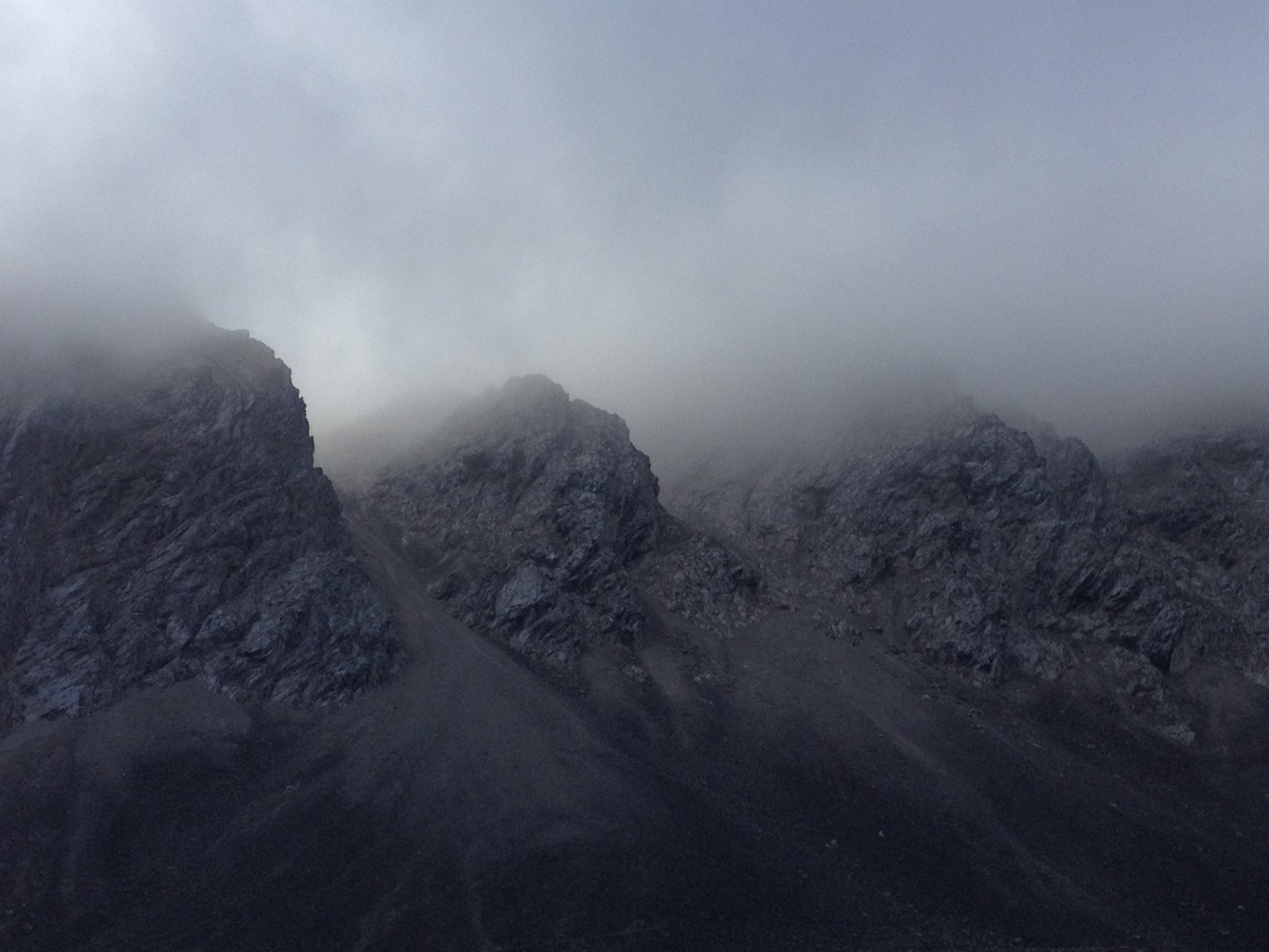 Berglandschaft in Wolken im Karwendel